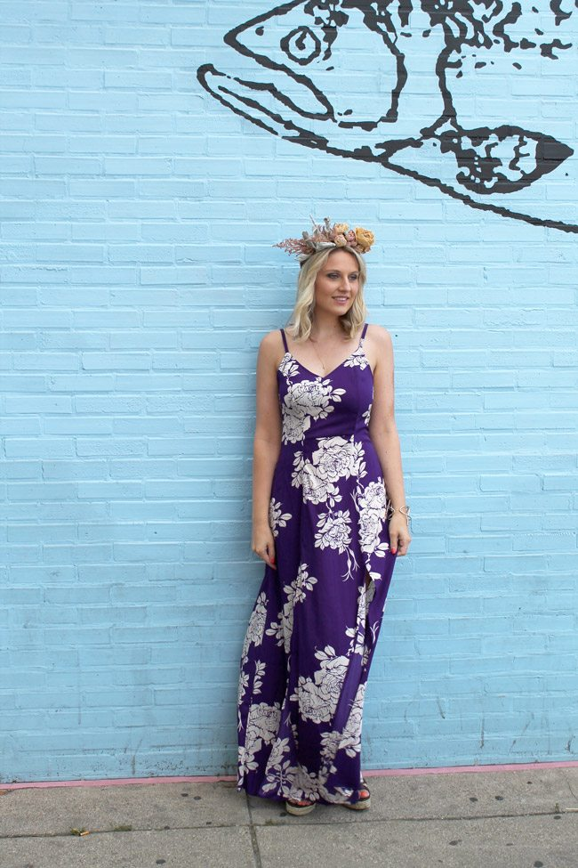 Maxi Dress and Floral Crown