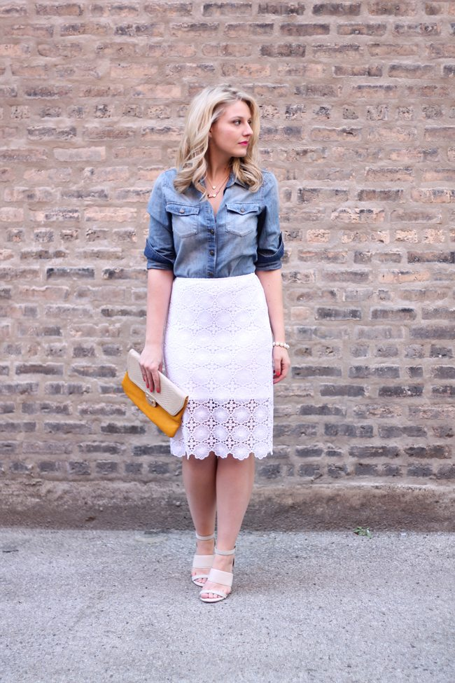 denim shirt, lace skirt, sole society wedges, langford market clutch