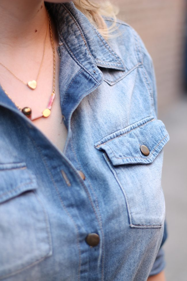 Michelle Starbucks Necklace, Chambray Shirt, Denim