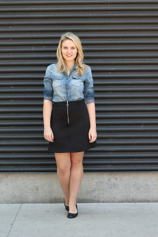 asos skirt, j.crew chambray, business casual, summer business casual