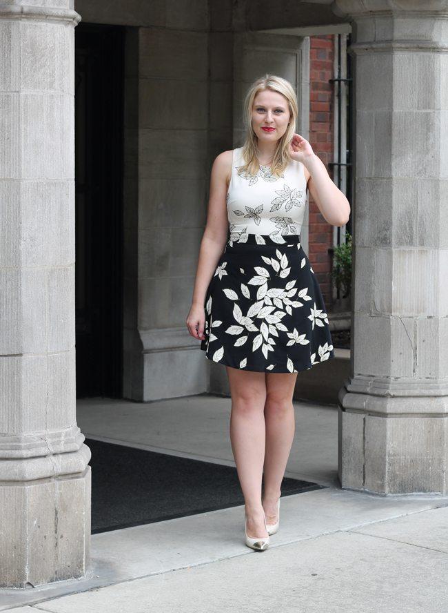 florals, dark florals, floral dress, black and white dress, zara dress, ruby woo lipstick, anne klein
