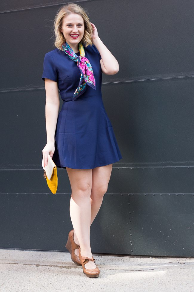 Navy Dress with neutral accents
