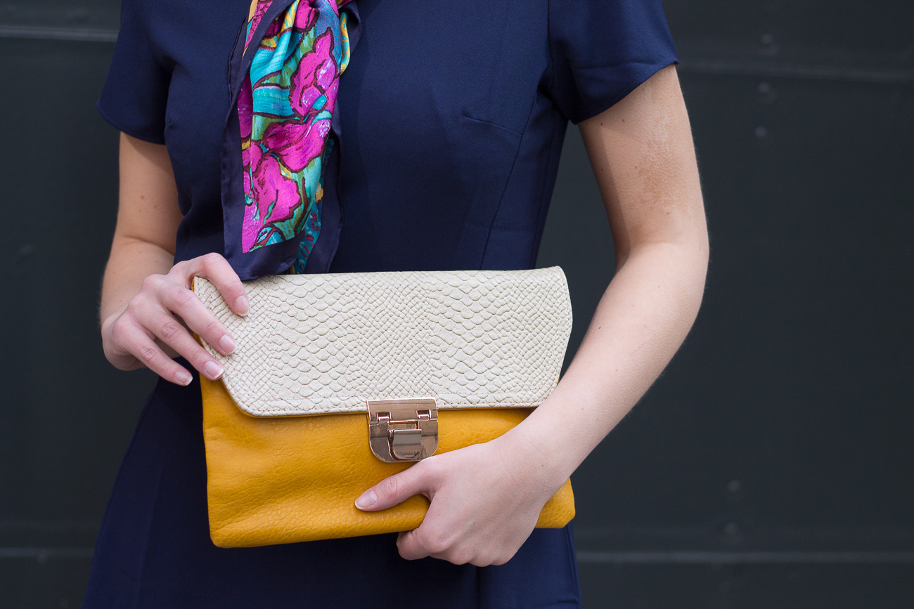 Langford Market Clutch with WAFY Navy Blue Dress