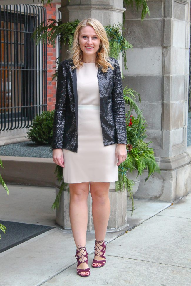 A great holiday outfit to wear to your office holiday party
