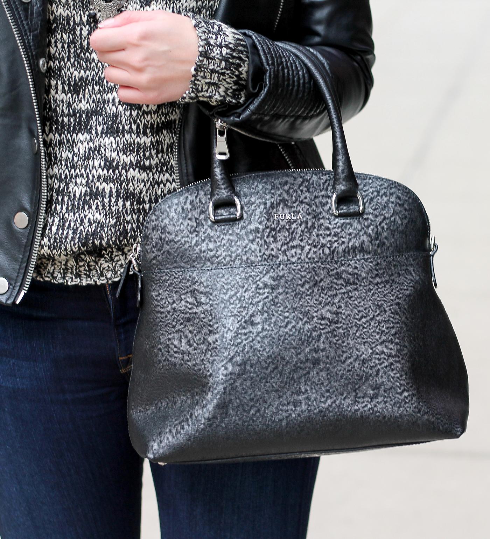 furla handbag with grey scale sweater