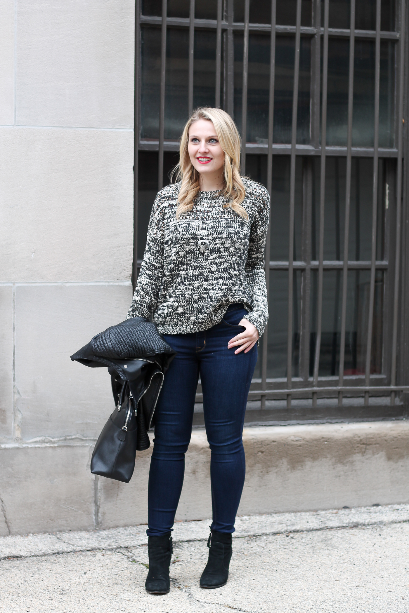 How to wear a grey scale sweater this winter