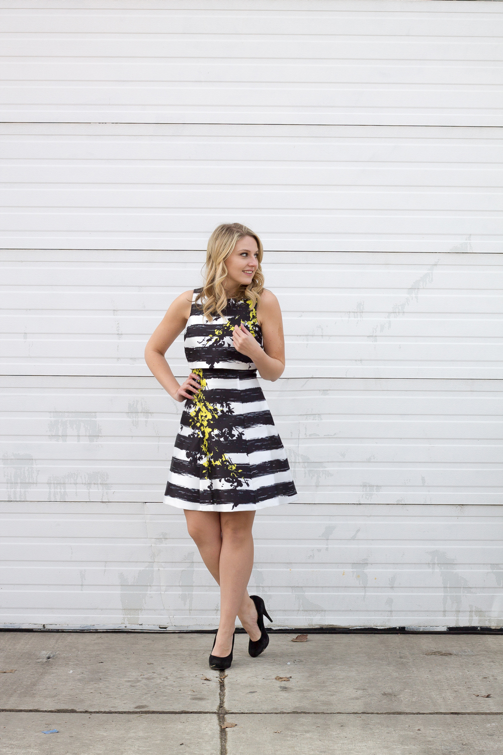 A floral and stripe coast dress for this winter