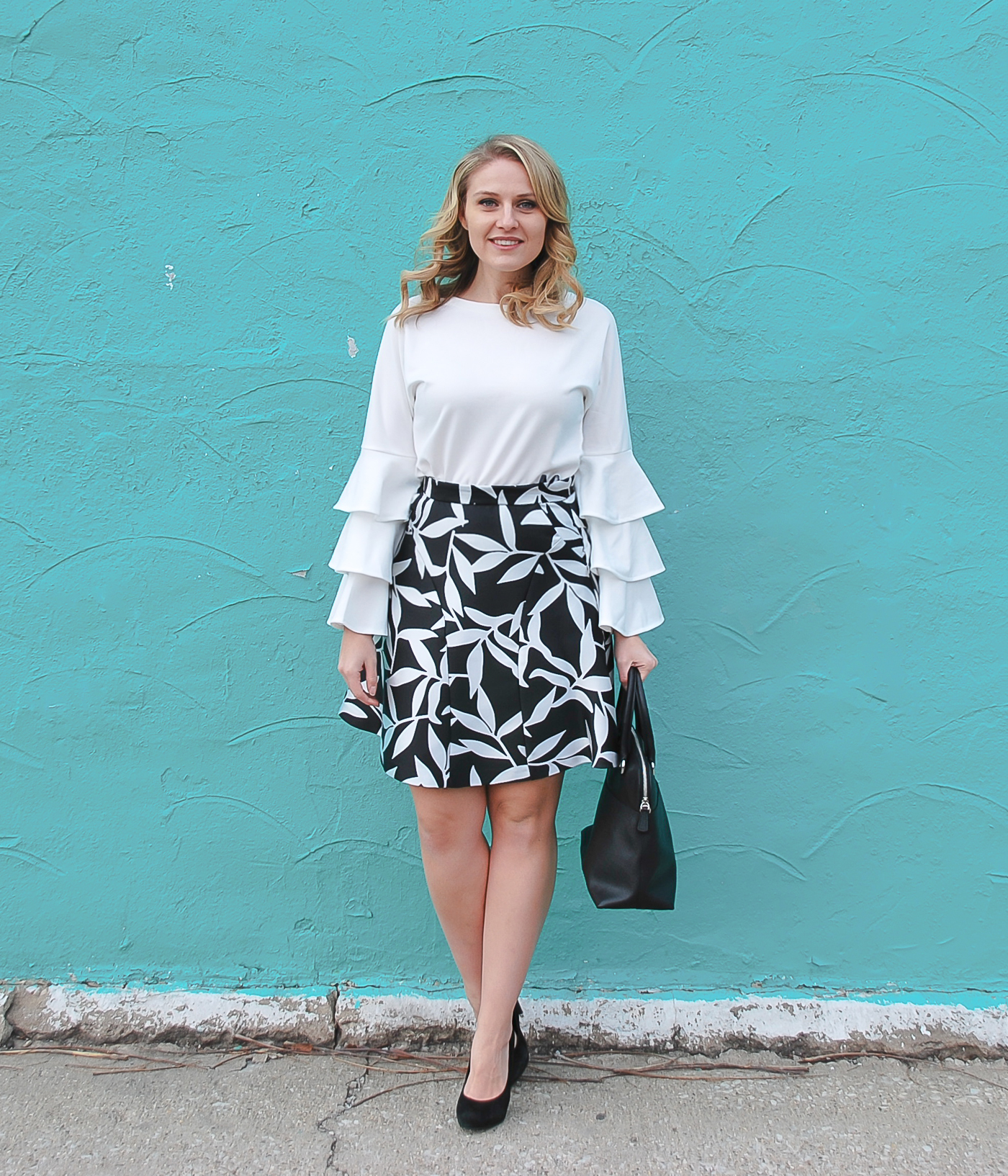 A simple black and white outfit featuring a bell sleeve blouse from SheIn