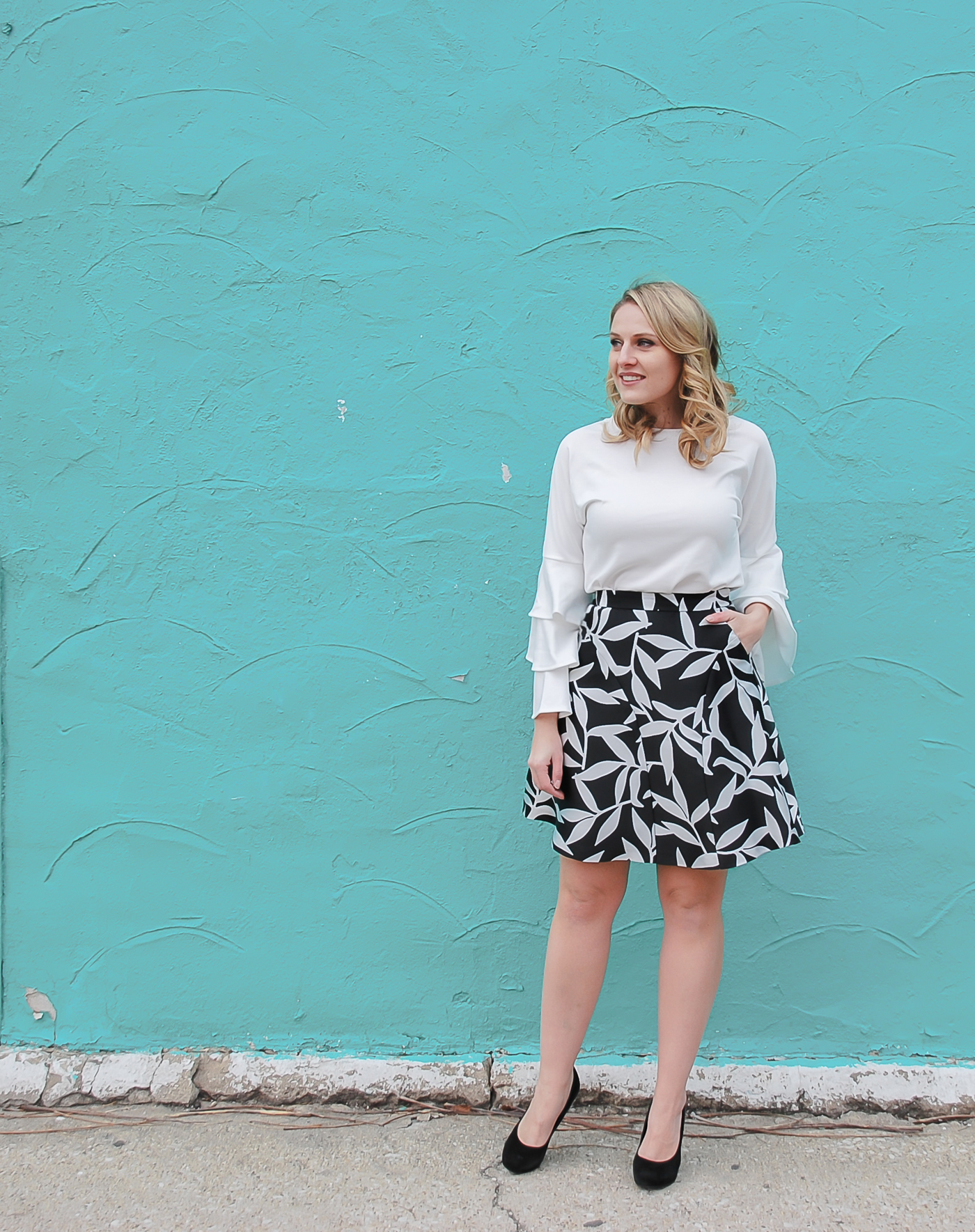 A SheIn bell sleeve blouse and Coast printed skirt