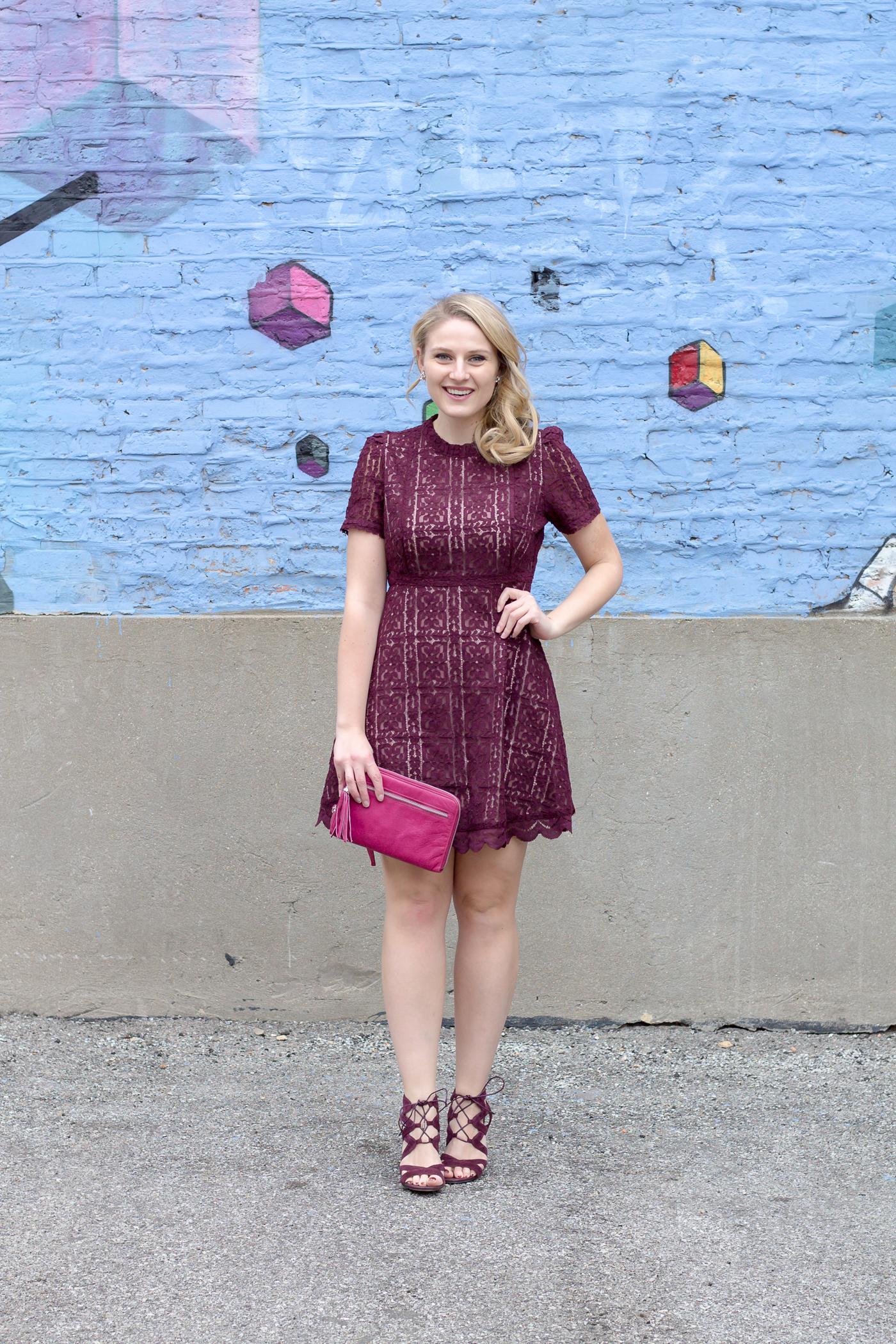 A pretty lace dress in a deep purple