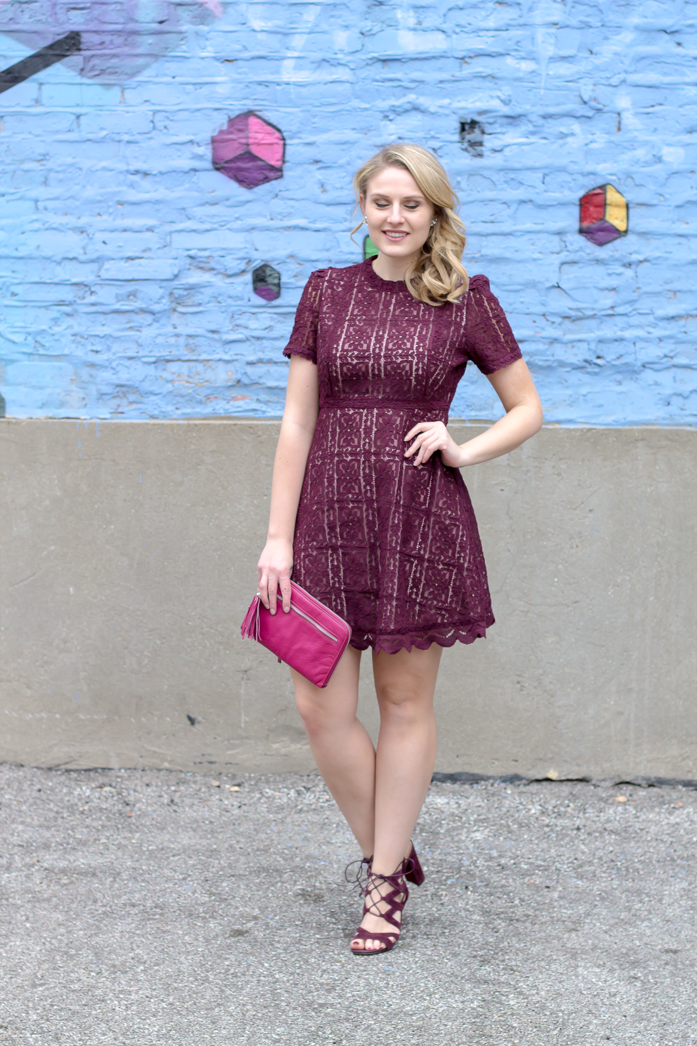 A purple lace dress under $100 available at Amazon for Valentine's Day