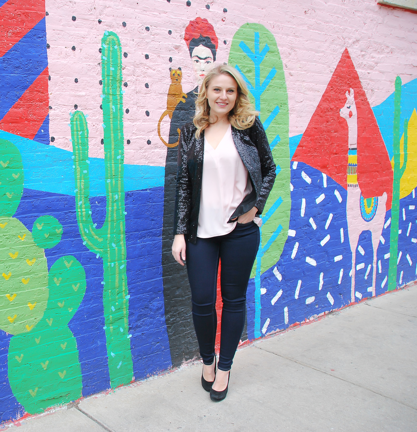 A simple outfit to wear out this month including a sparkle jacket and jeans