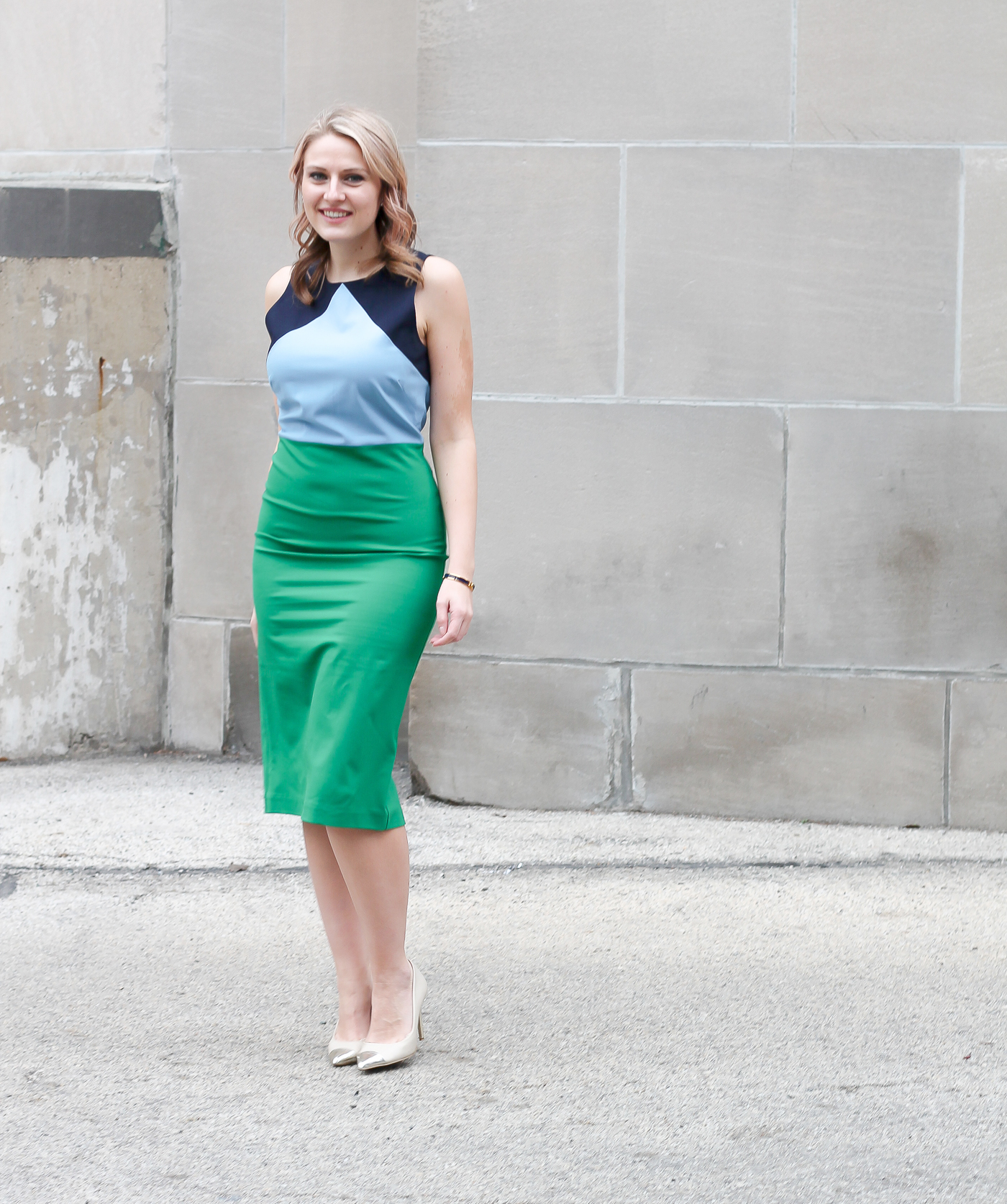 How to wear a colorblock dress to the office