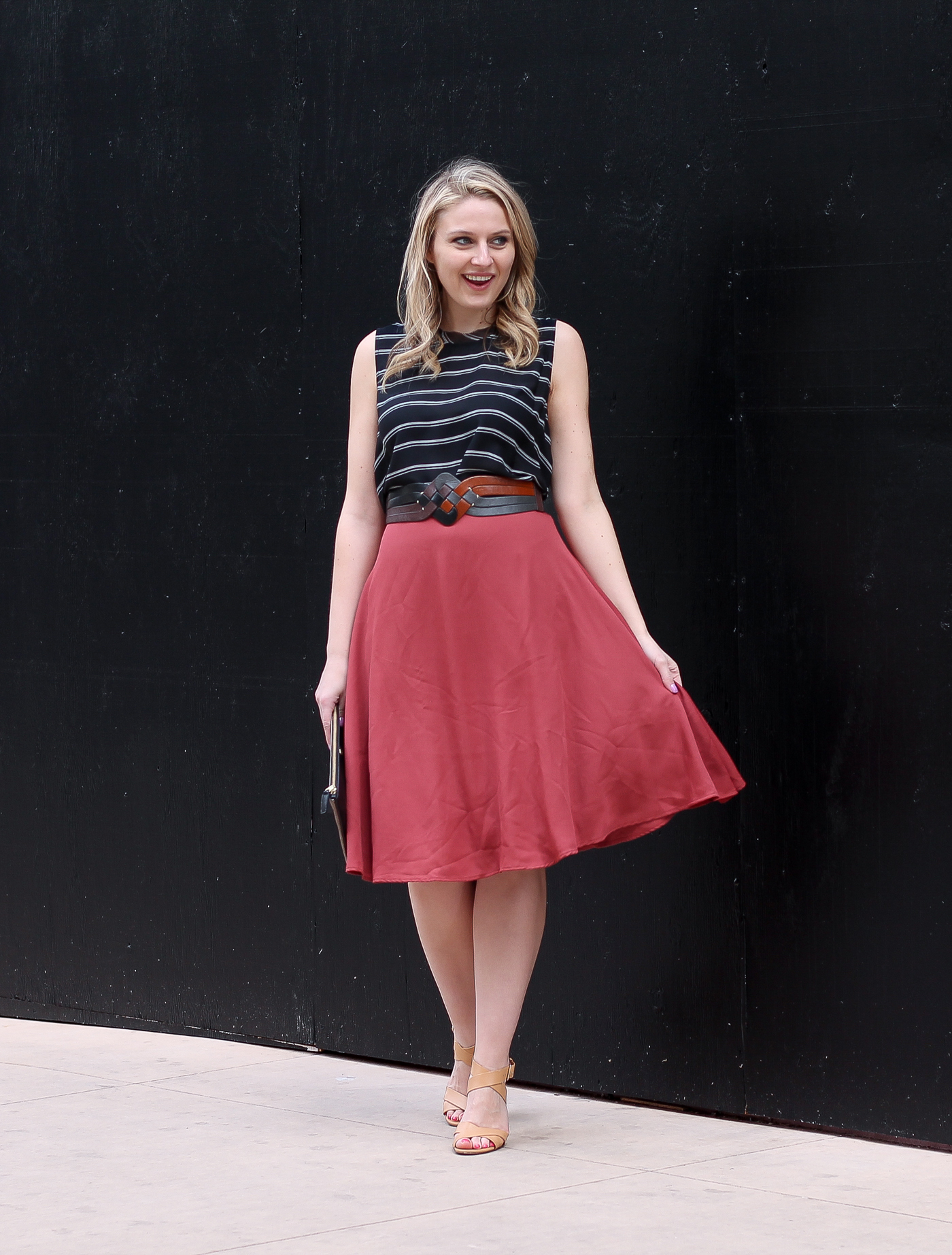 A spring outfit featuring fall colors in this Tobi midi skirt