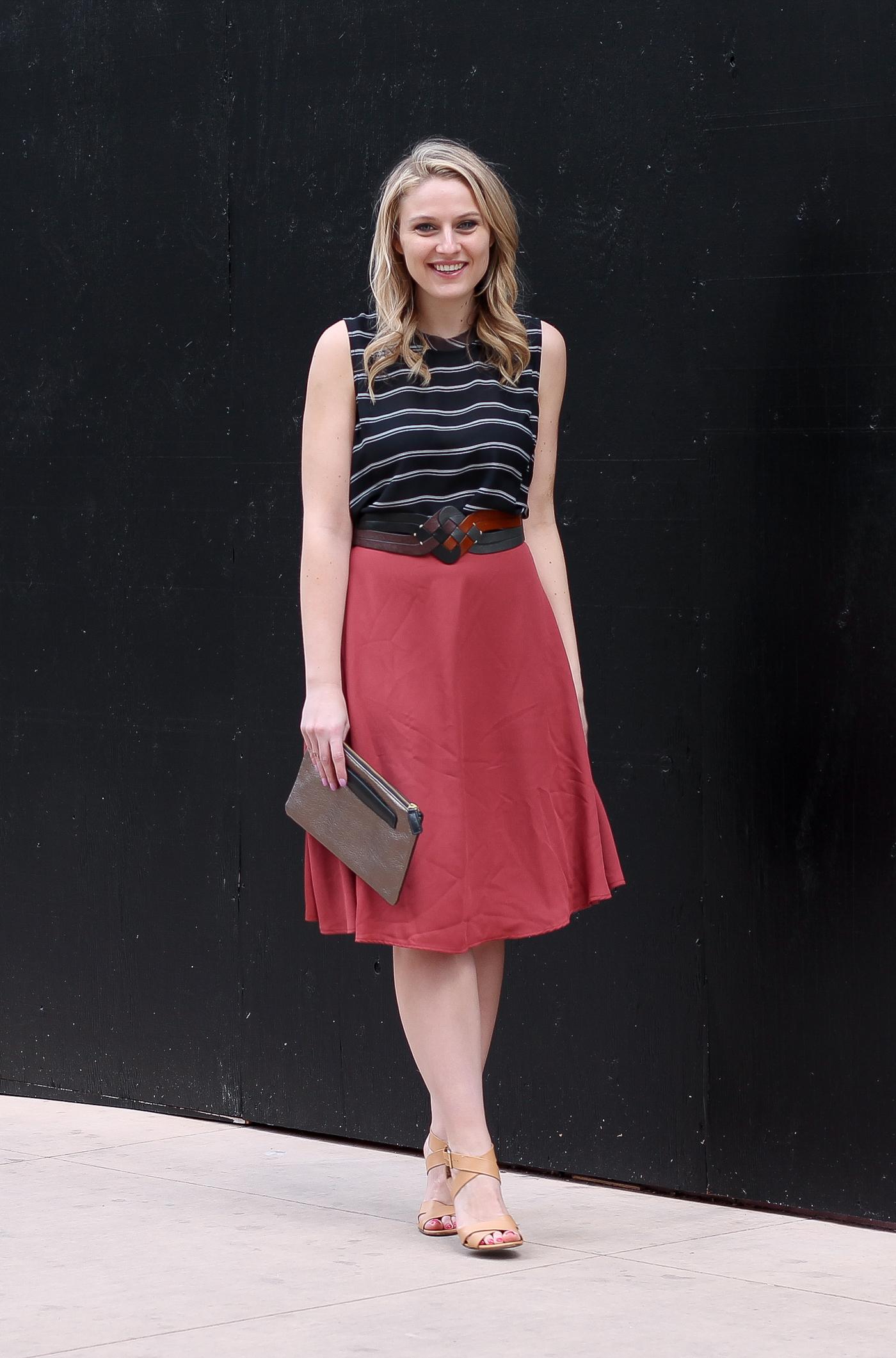 Tobi midi skirt and Target blouse