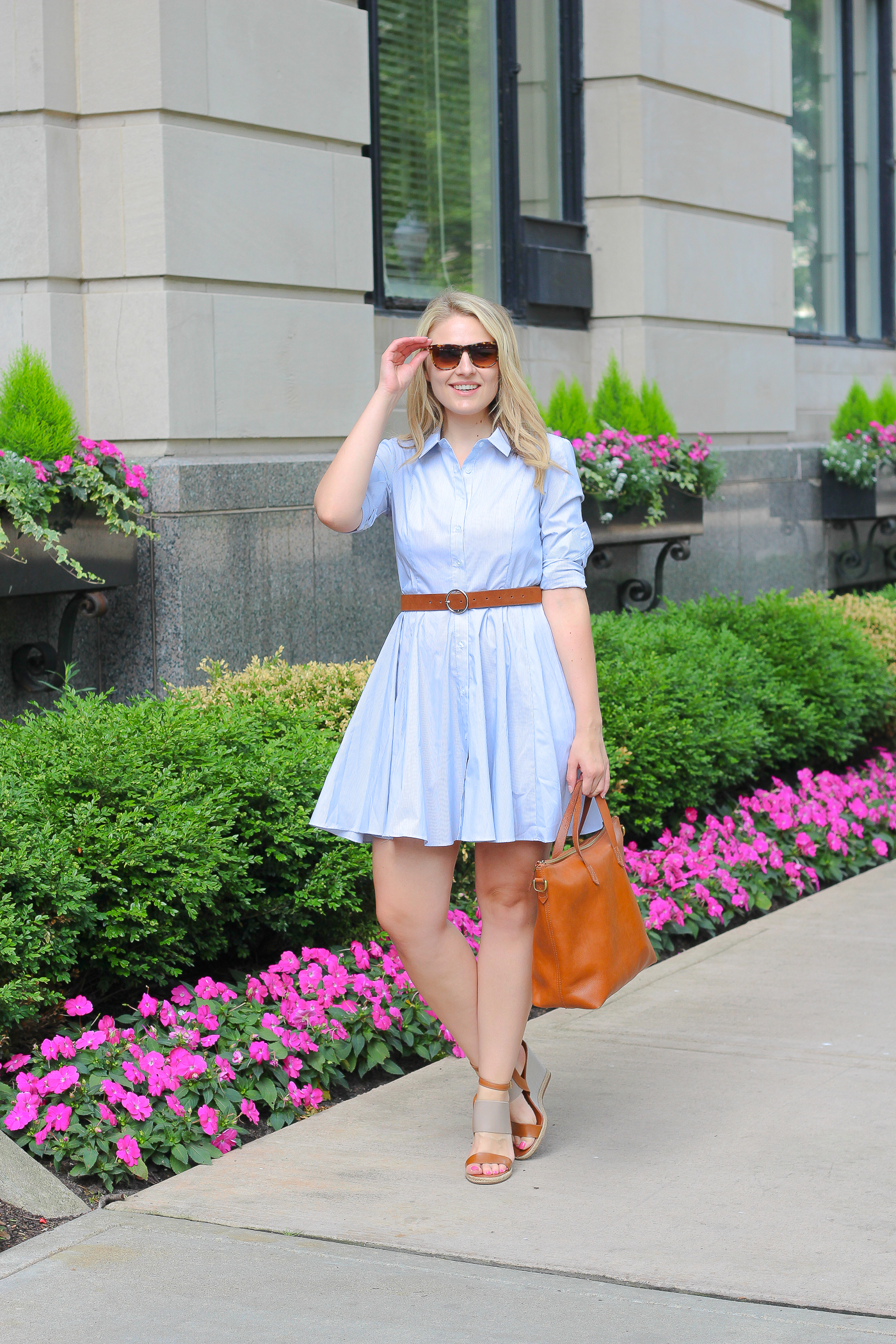 How to wear a buttoned down shirt dress to the office
