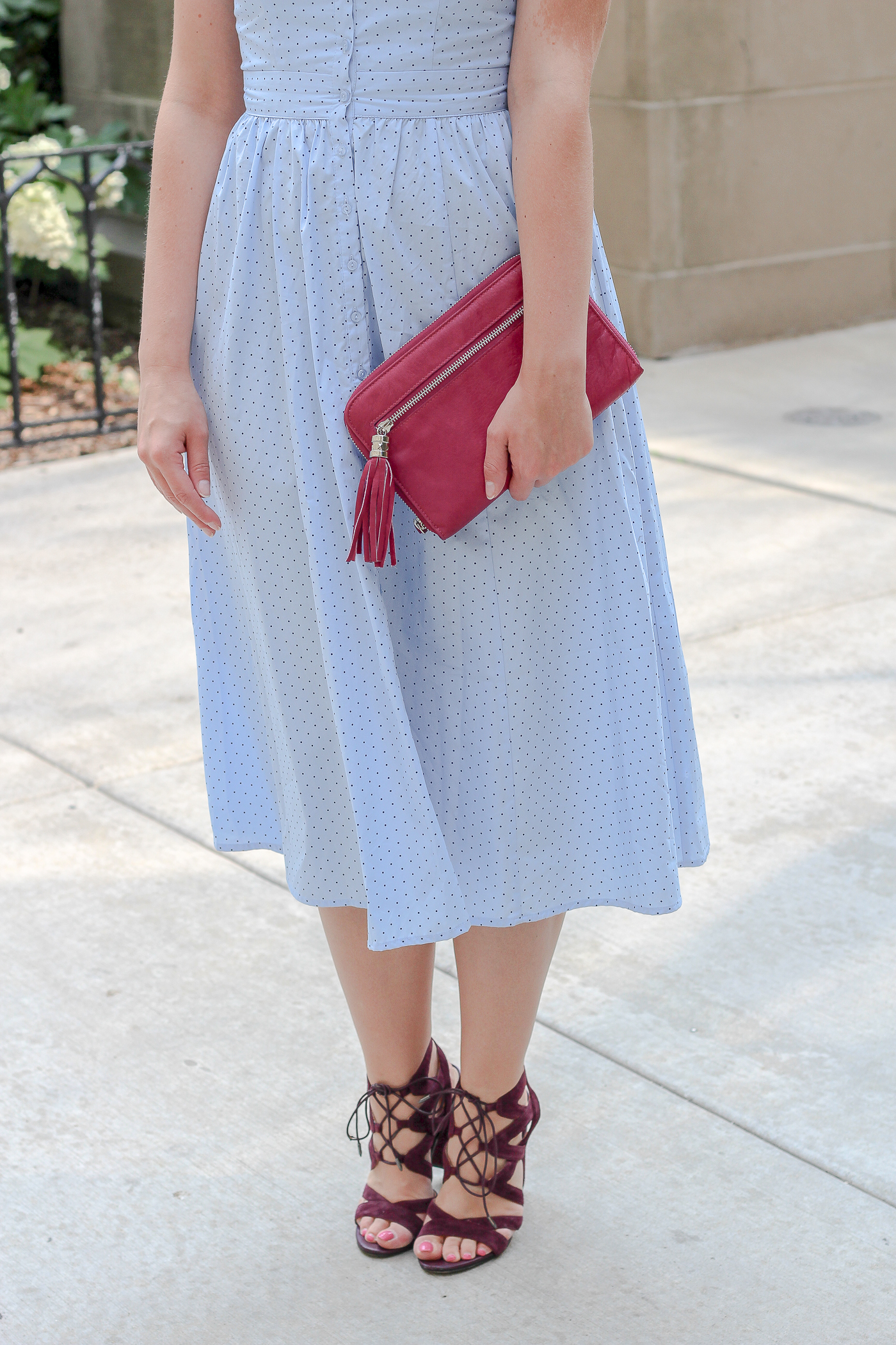 A cotton midi dress with lace up pumps for your movies at the park picnic