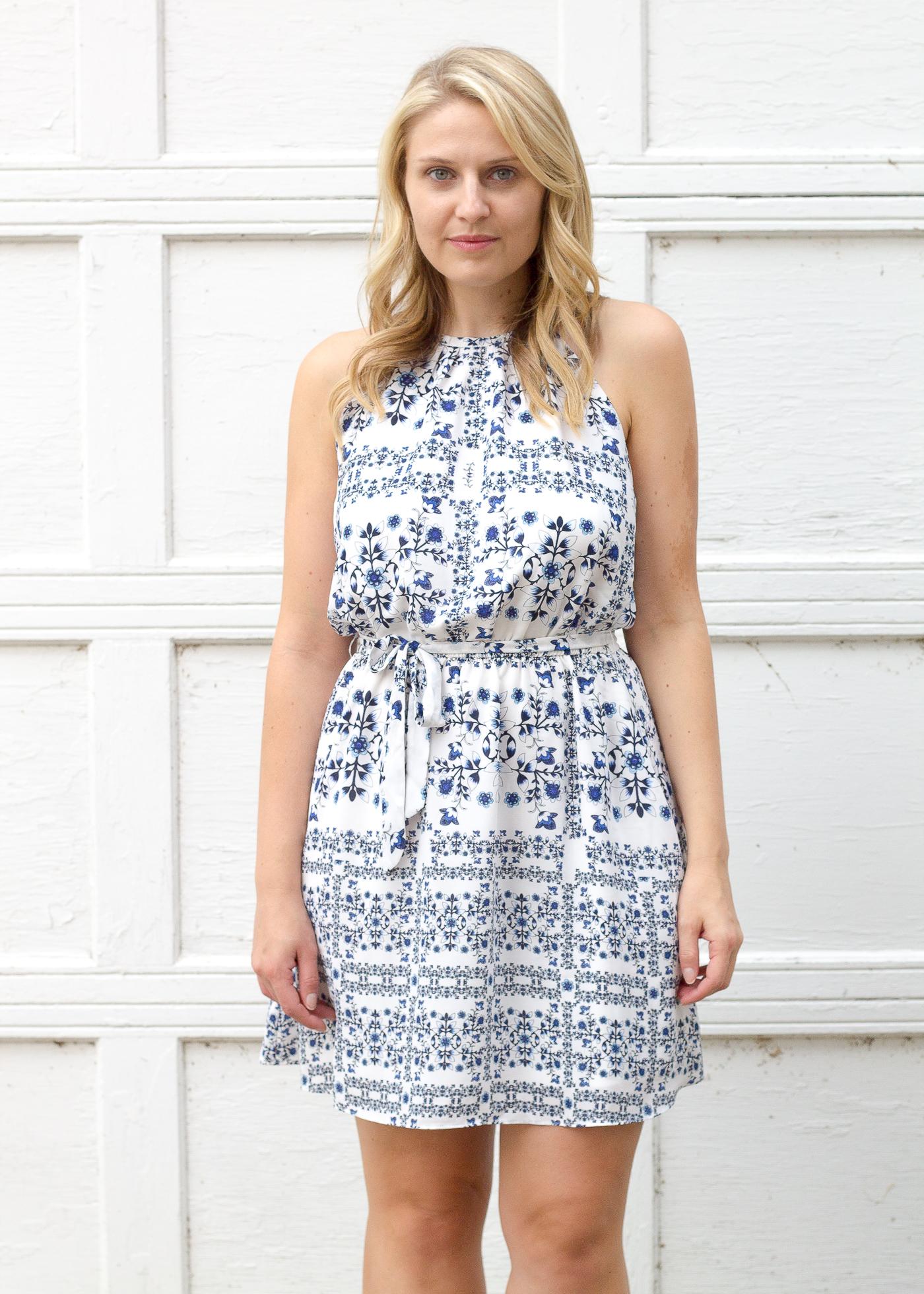Aqua blue and white summer print dress