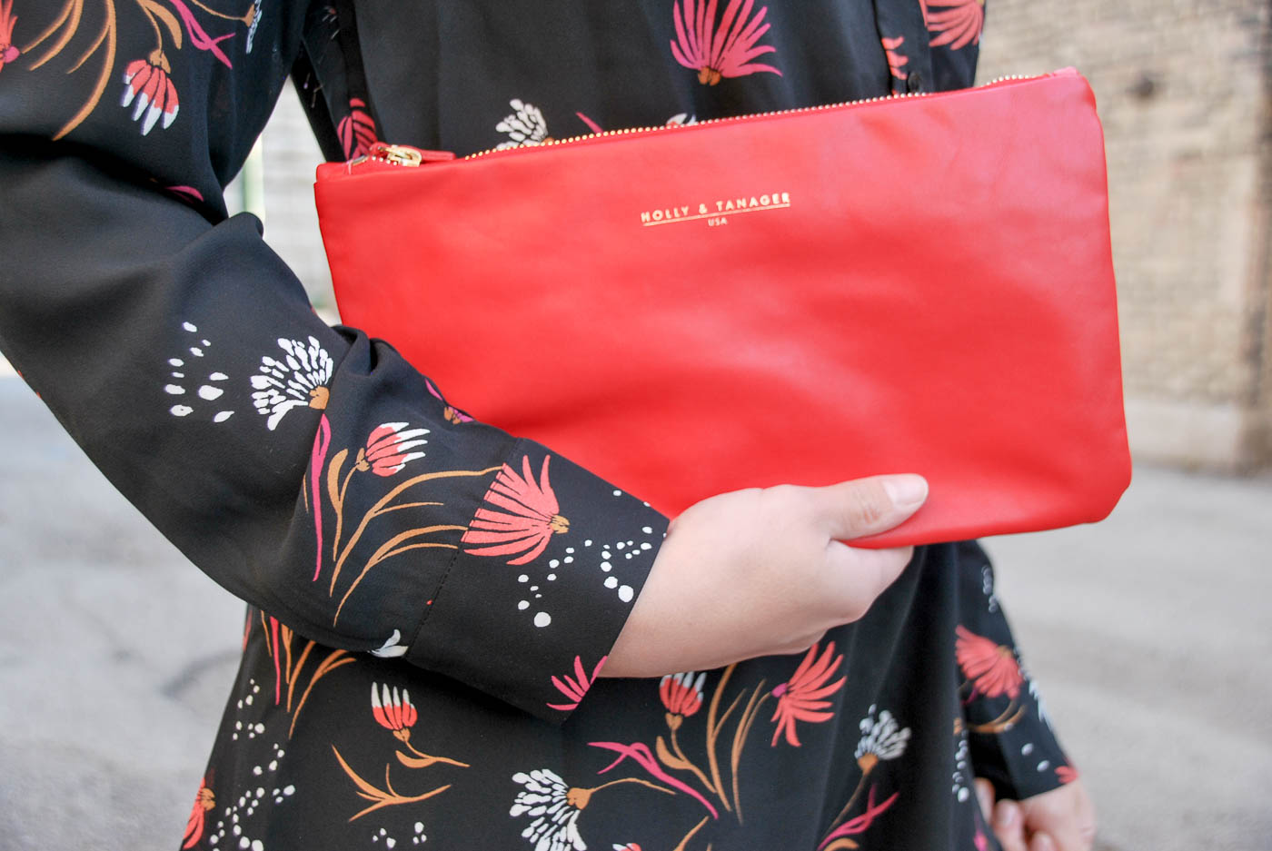 Holly & Tanager Clutch Handbag in Poppy Red