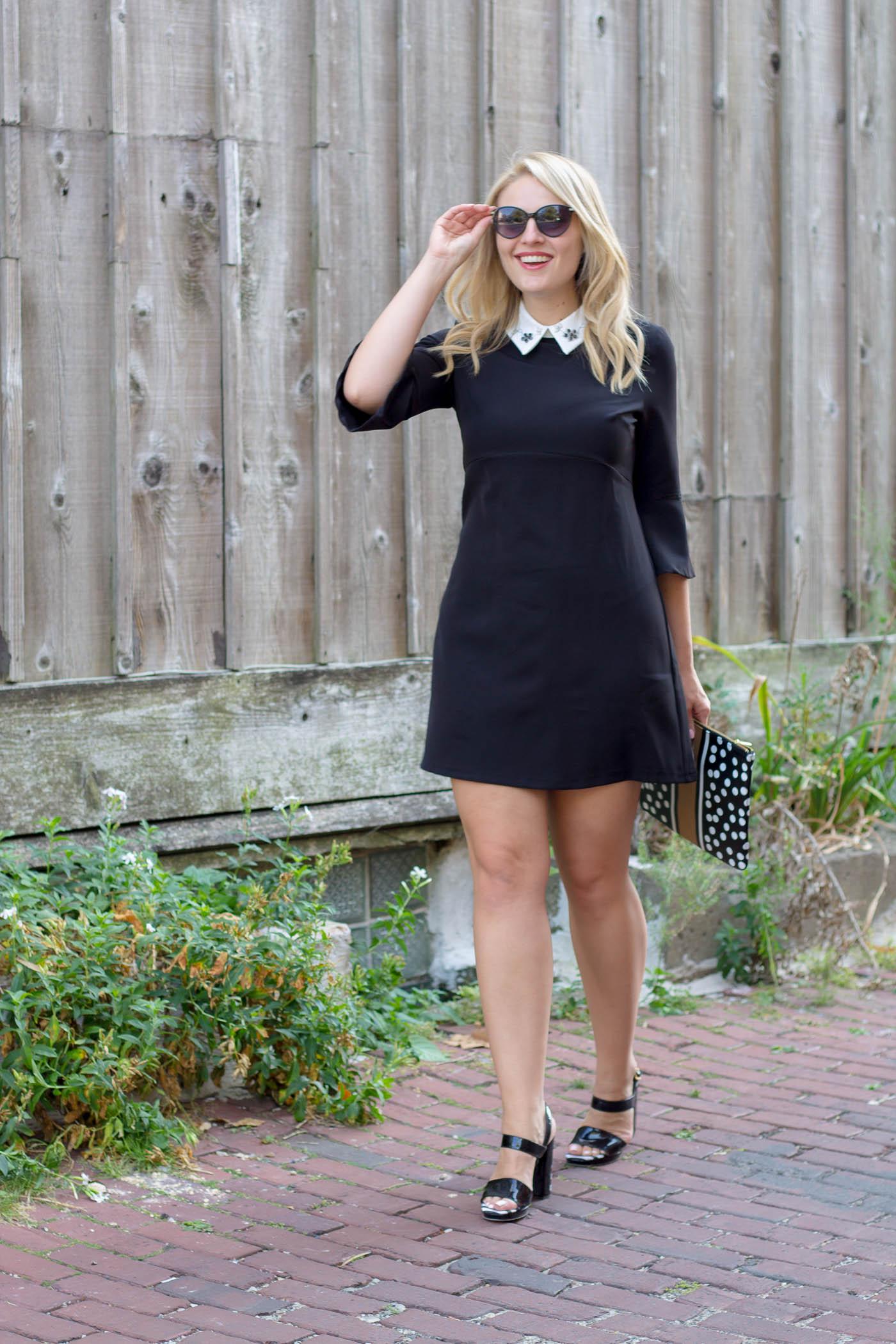Embellished white collar black dress from Zara