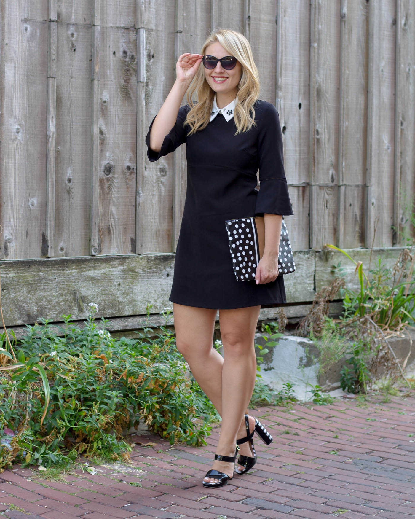 Zara black dress with white embellished collar for under $50