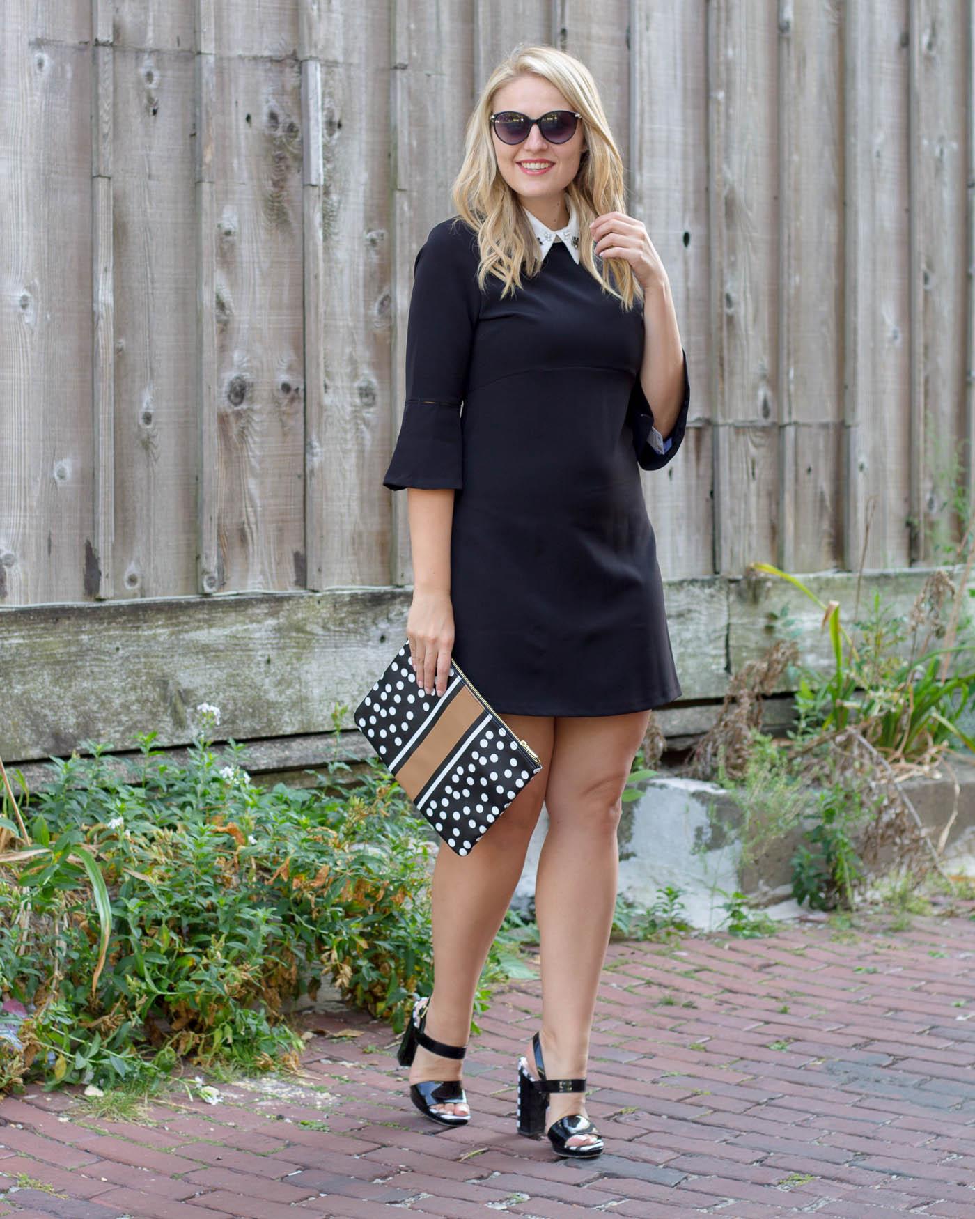 Zara White Collar Black Dress