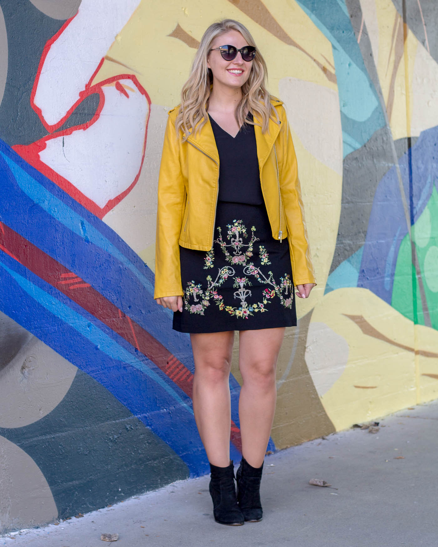 A pop of yellow leather jacket for under $100 available at ASOS