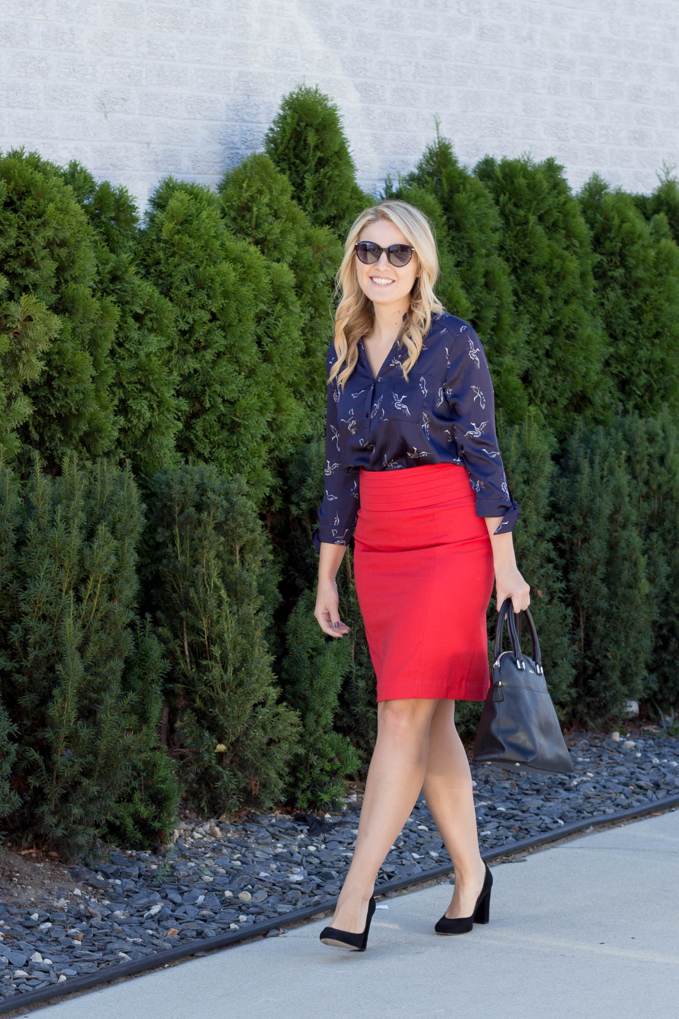 How to wear an all american red, white, and blue outfit to work