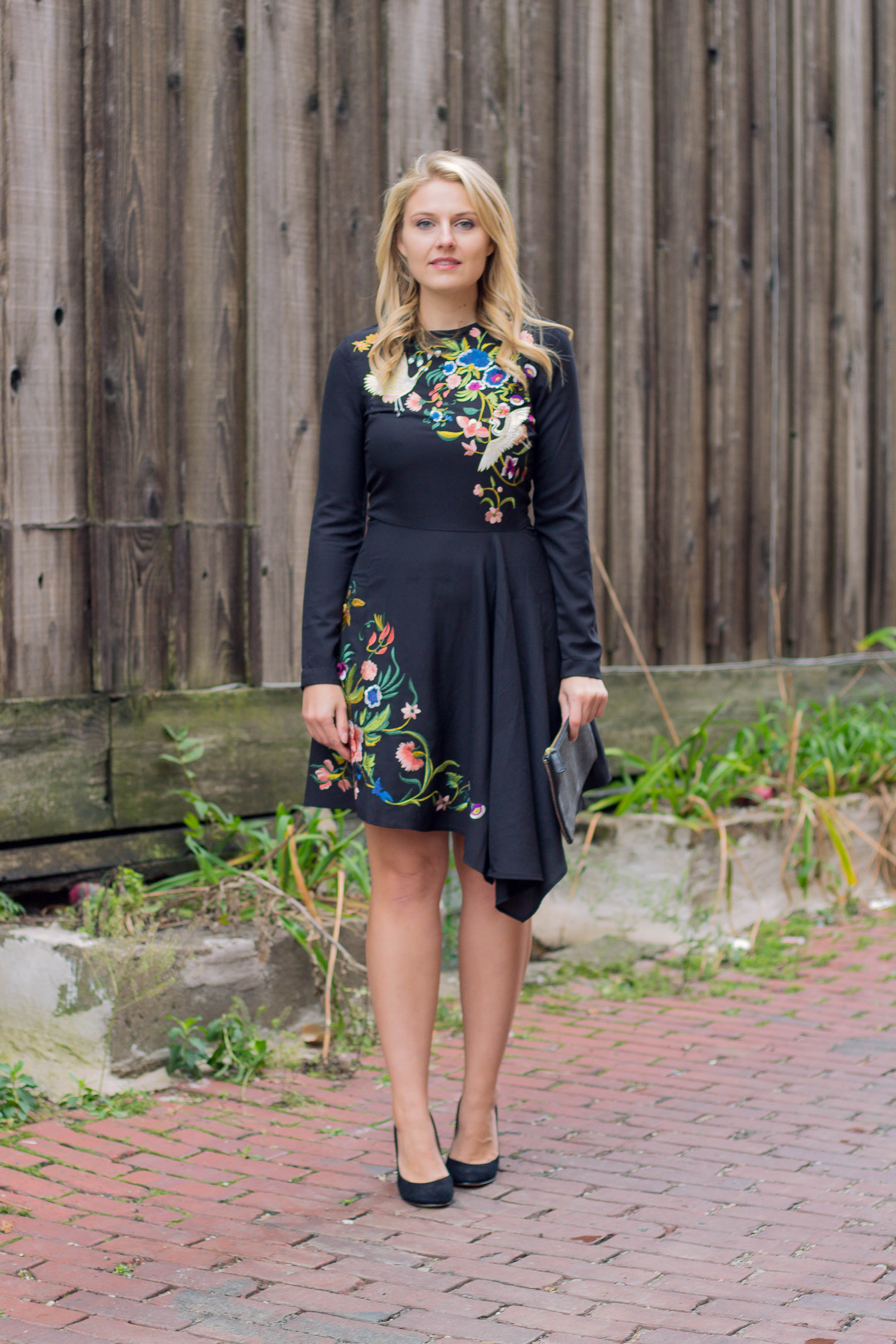 ASOS Embroidery Black Dress for the workplace