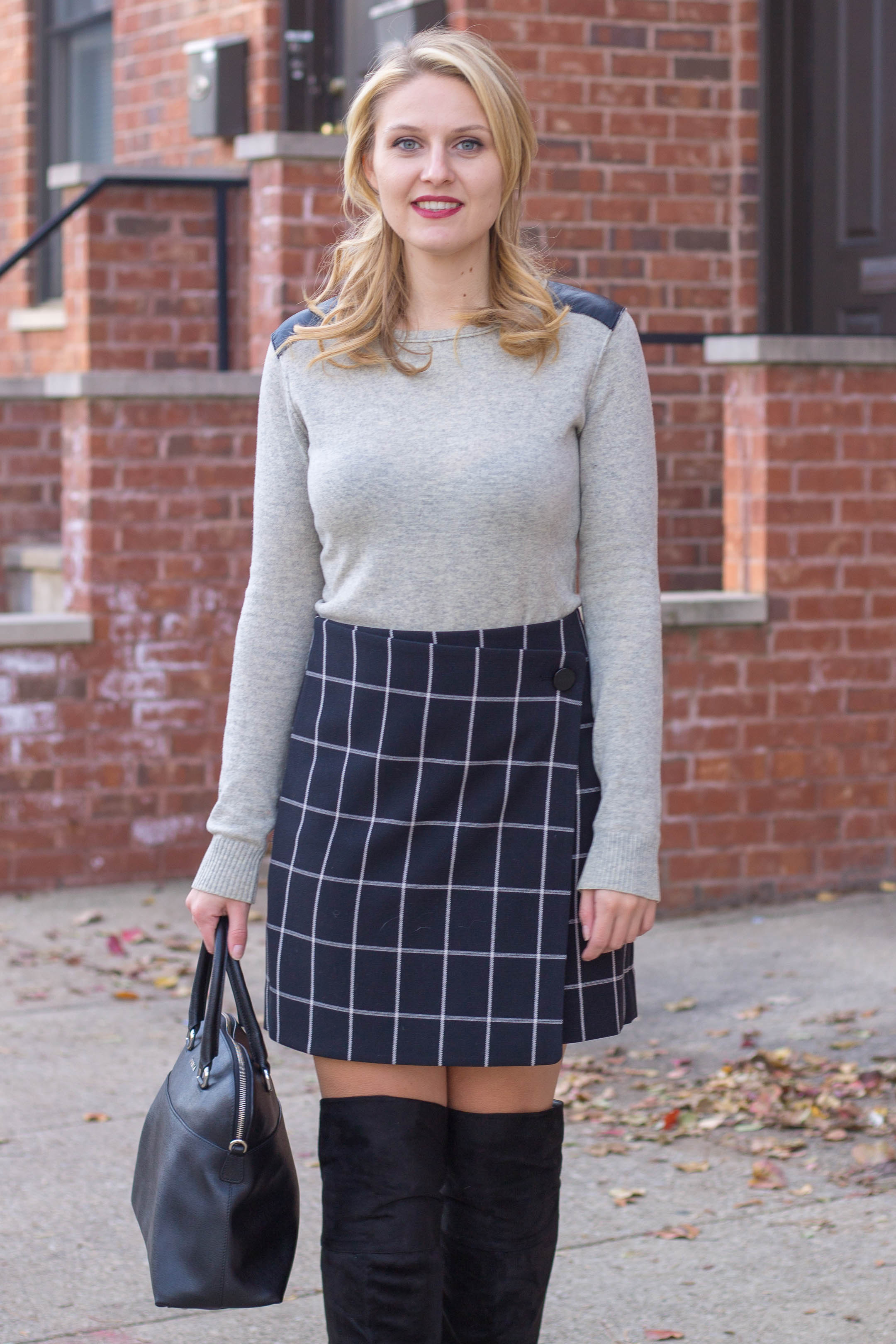 A navy and white windowpane print skirt from LOFT for under $100