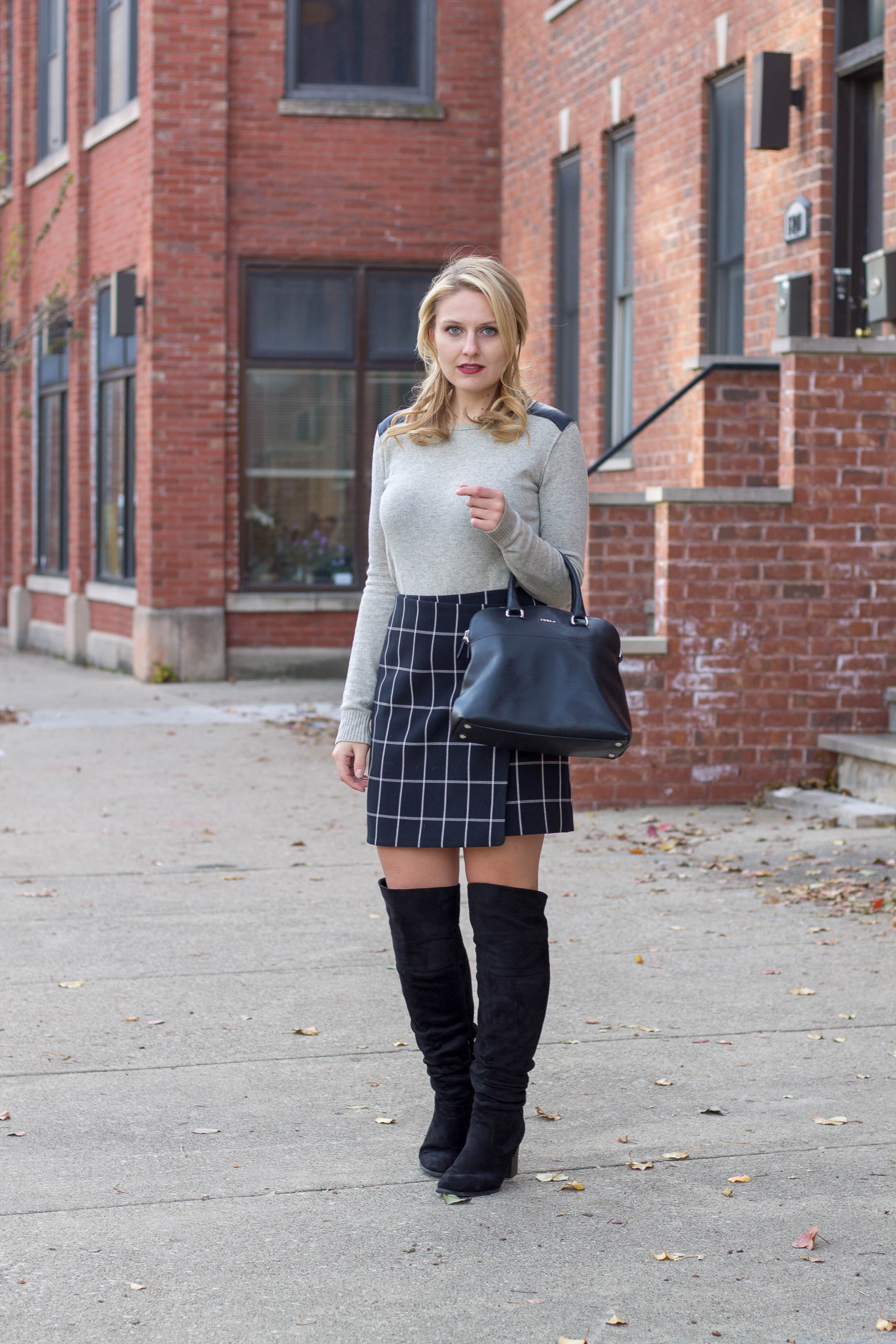 A windowpane wrap skirt from LOFT for under $50