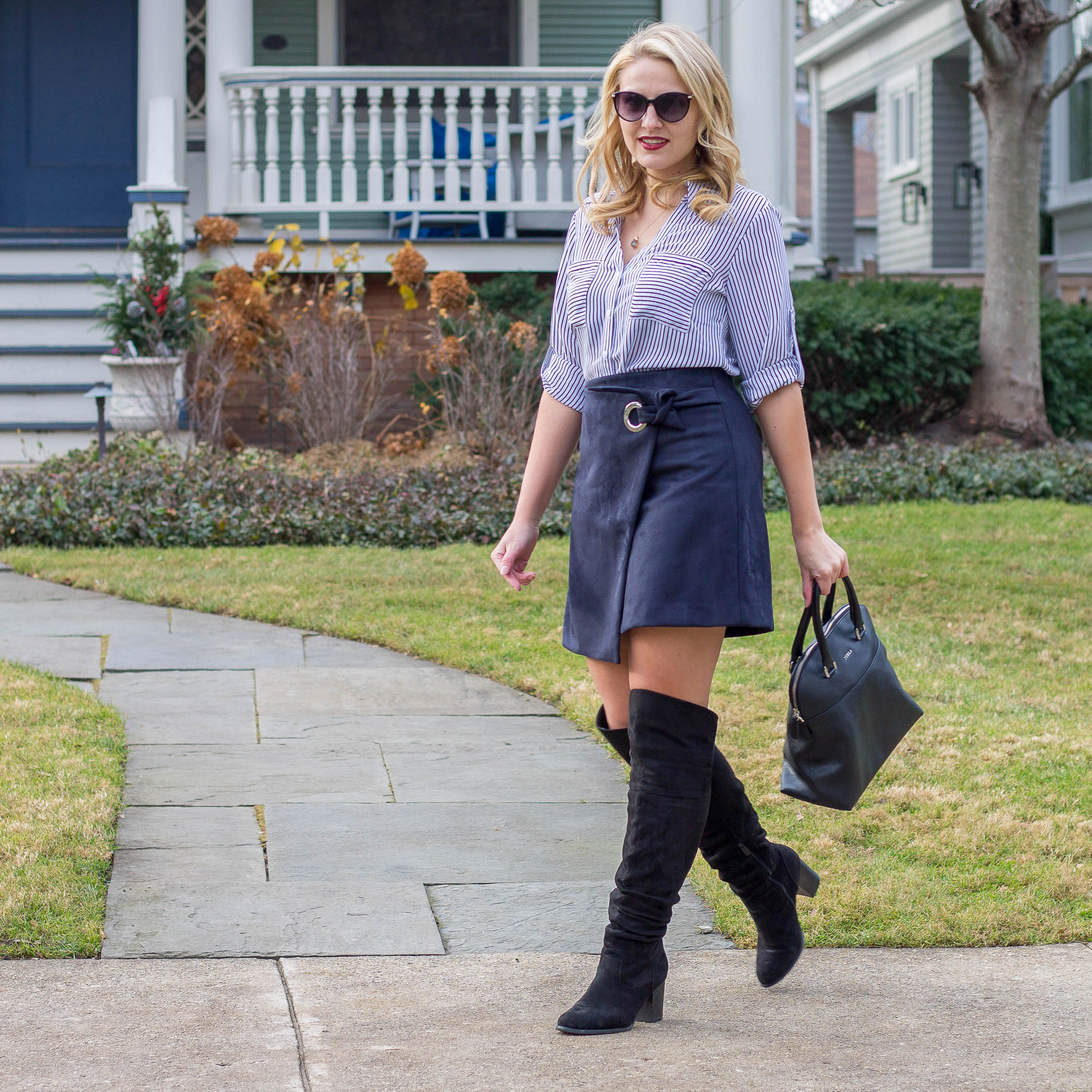 Why you need this faux suede wrap skirt from LOFT this winter season