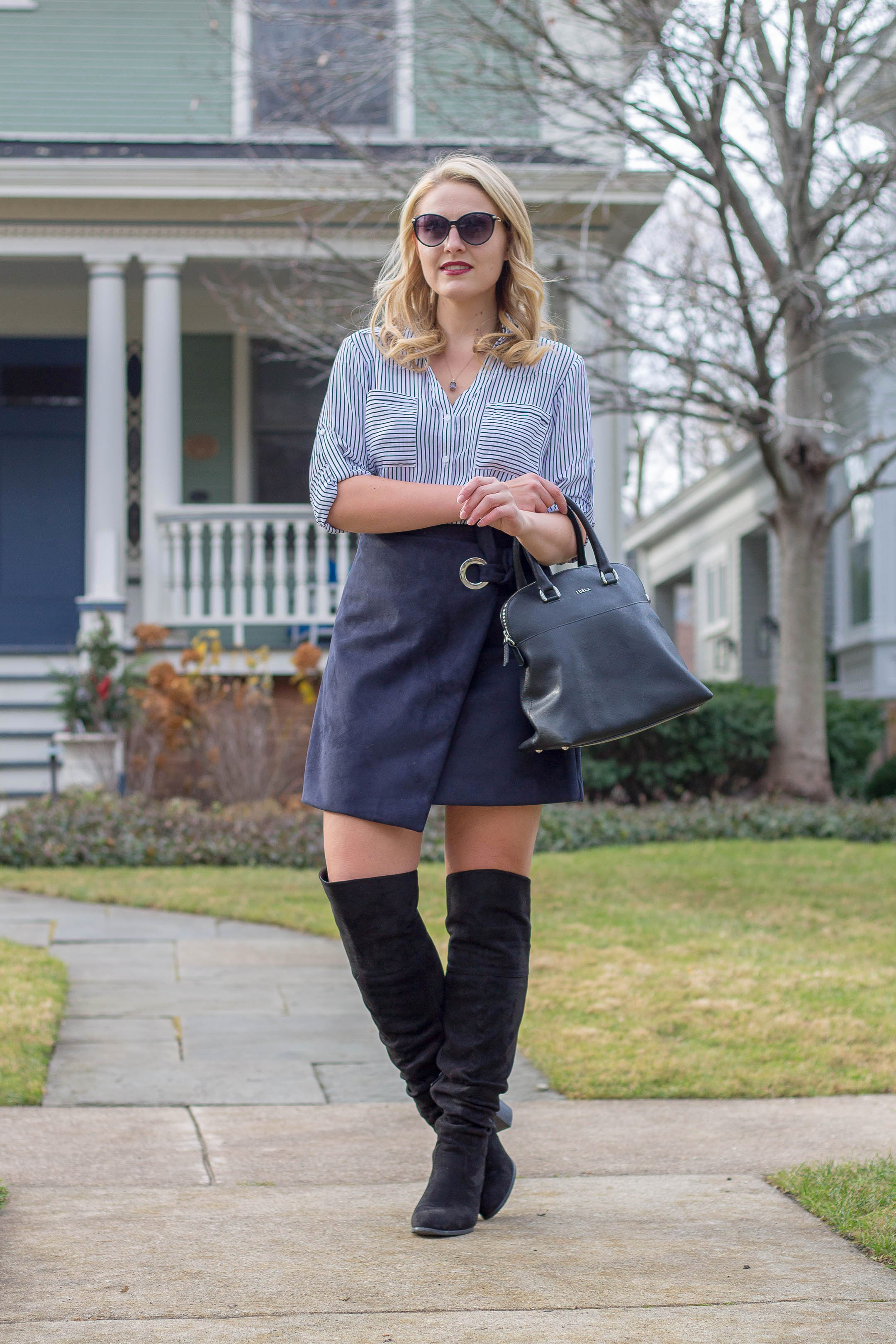 A fresh way to wear a faux suede wrap skirt