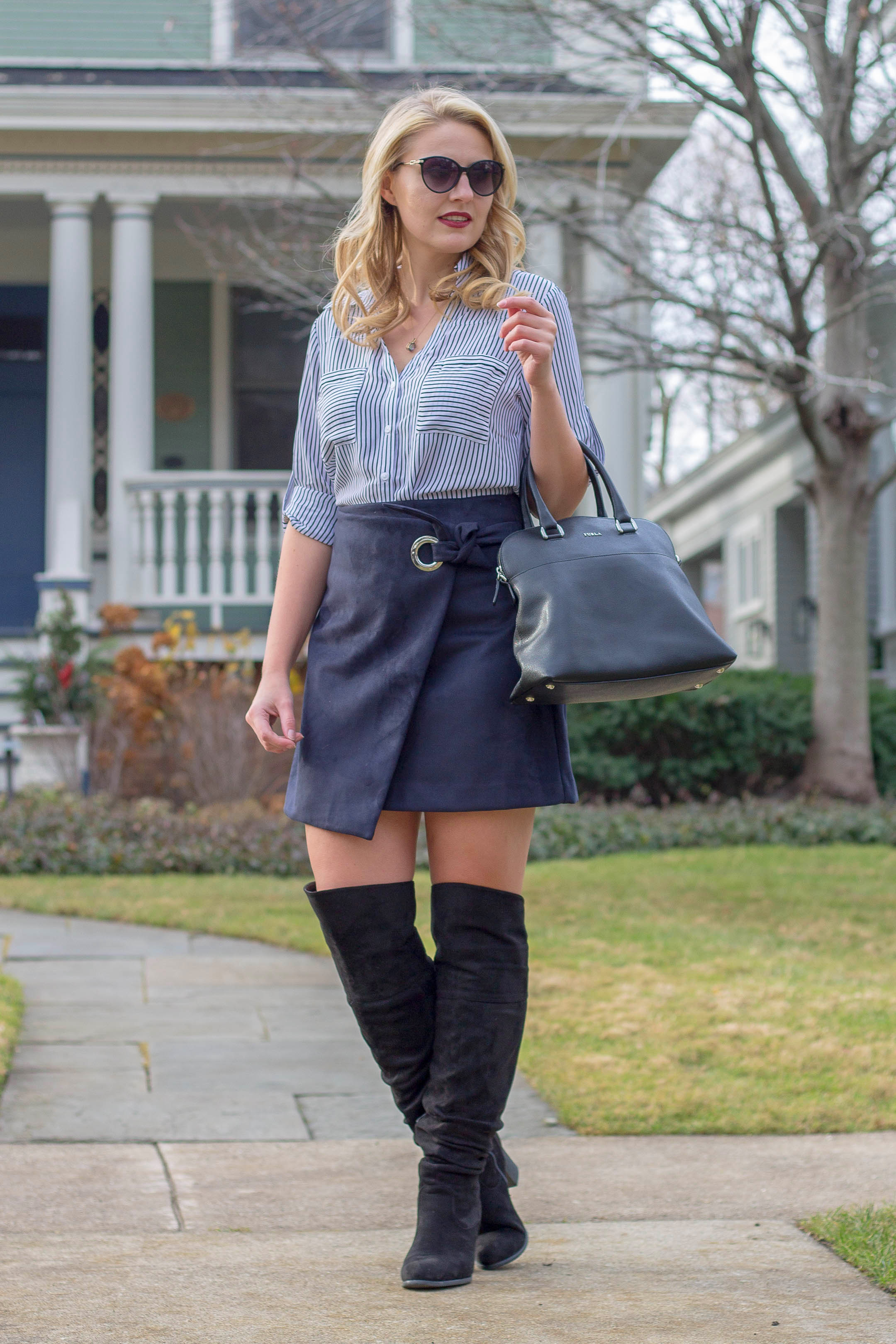 How to wear a grommet faux suede wrap skirt this winter season