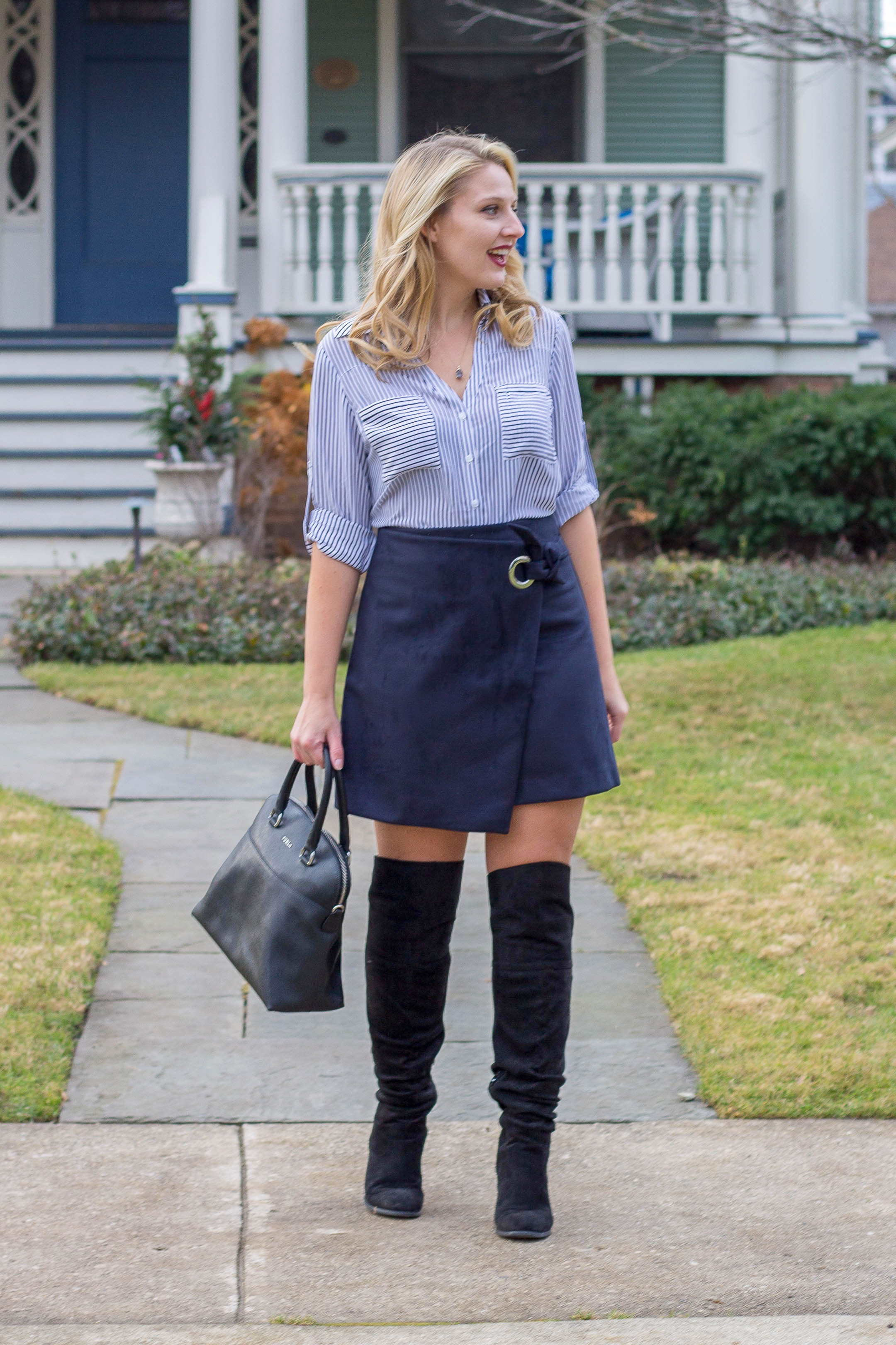 How to wear a monochromatic outfit with a stripe shirt and faux suede wrap skirt