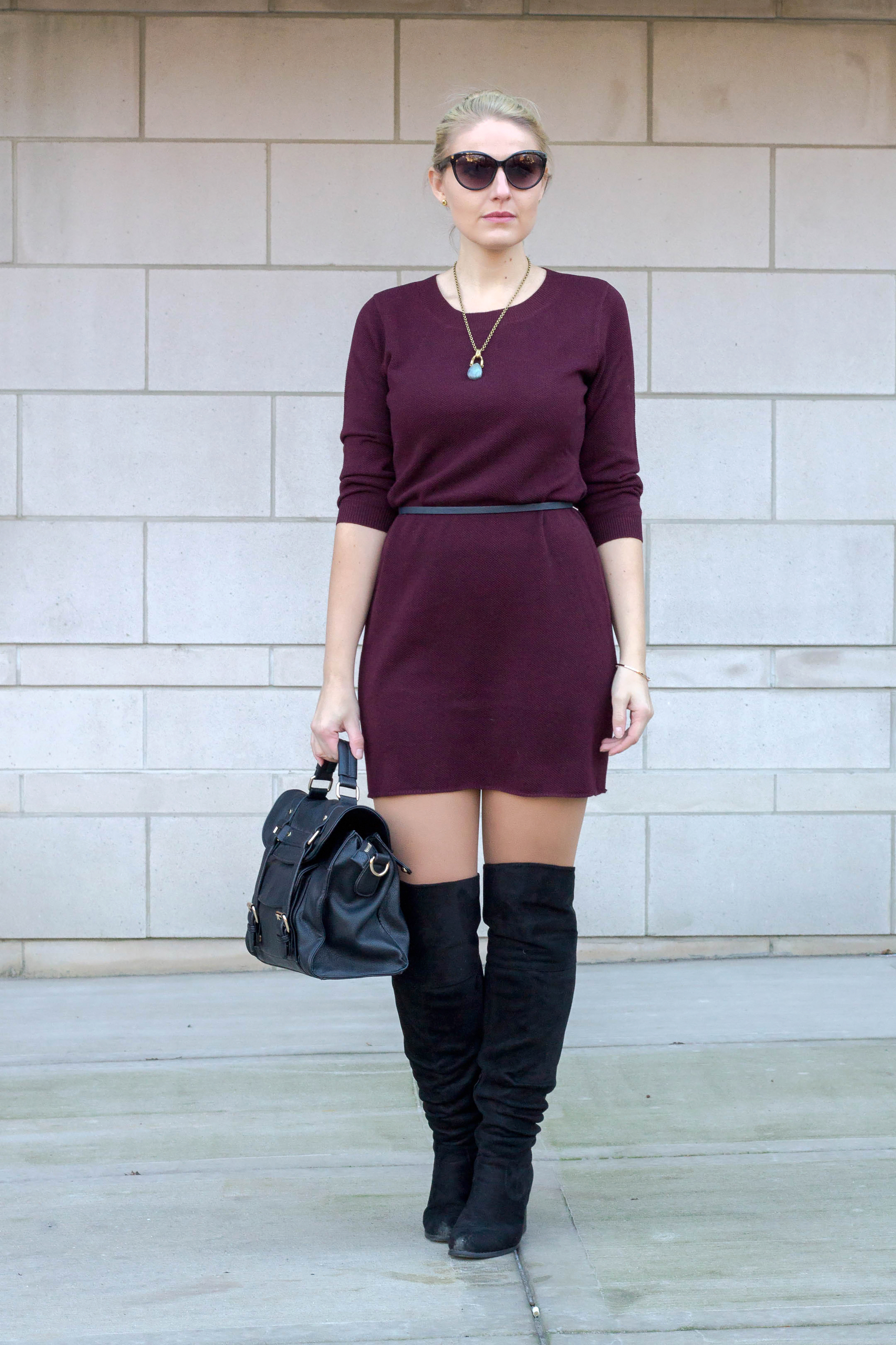 How to wear a sweater dress to work and to happy hour