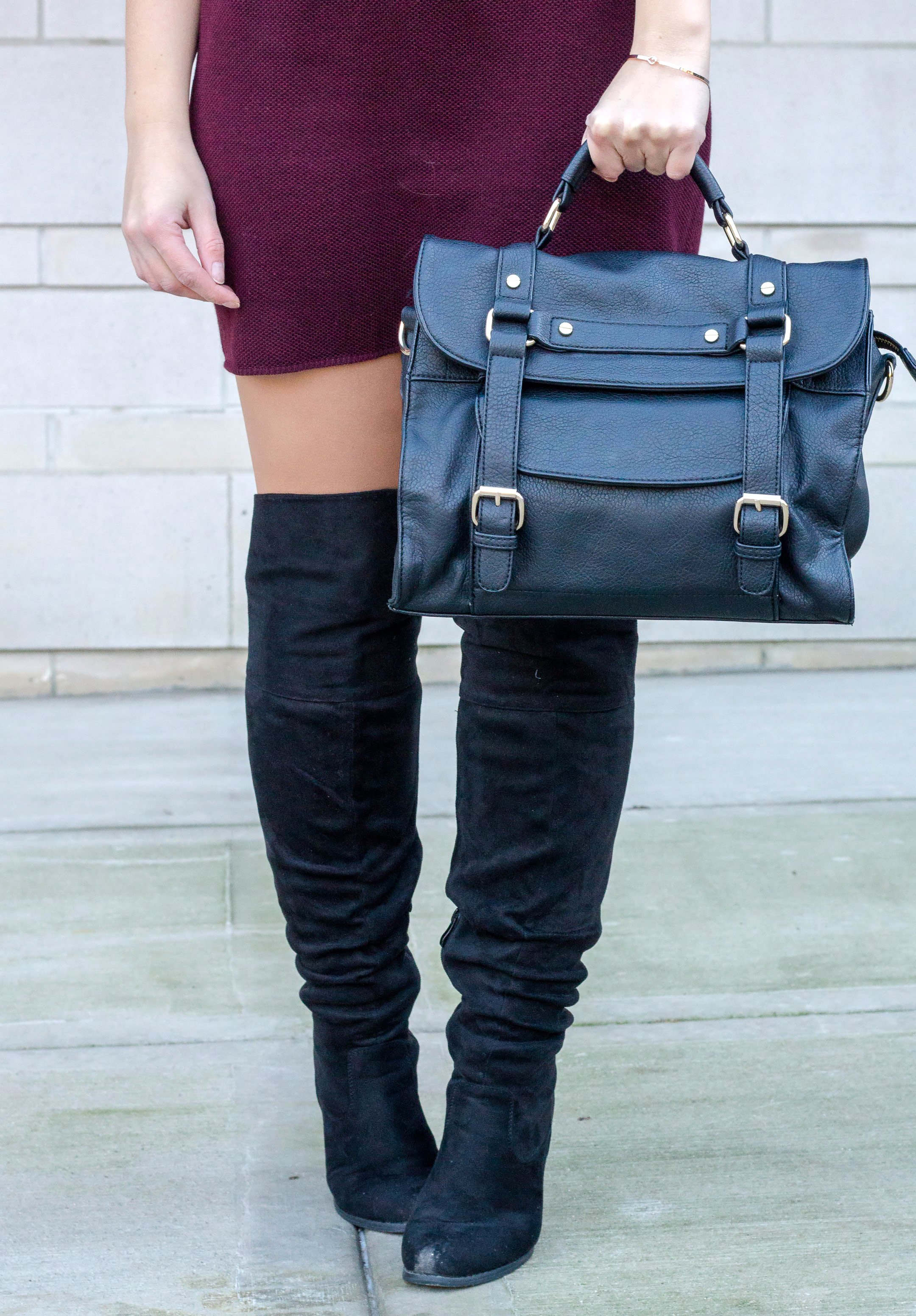 Journee Collection Knee High Boots and Sole Society Handbag