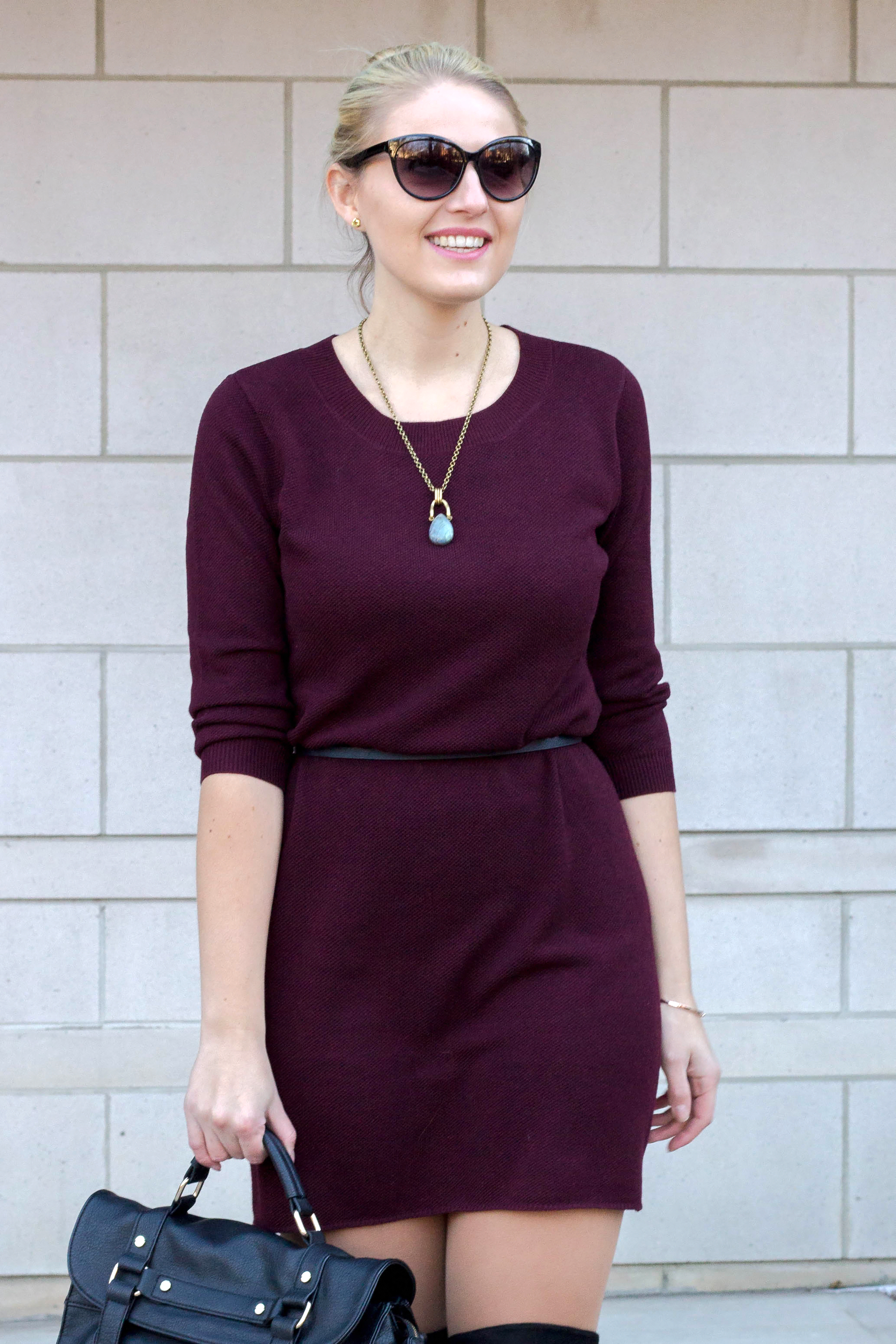 BB Dakota Sweater Dress with black belt