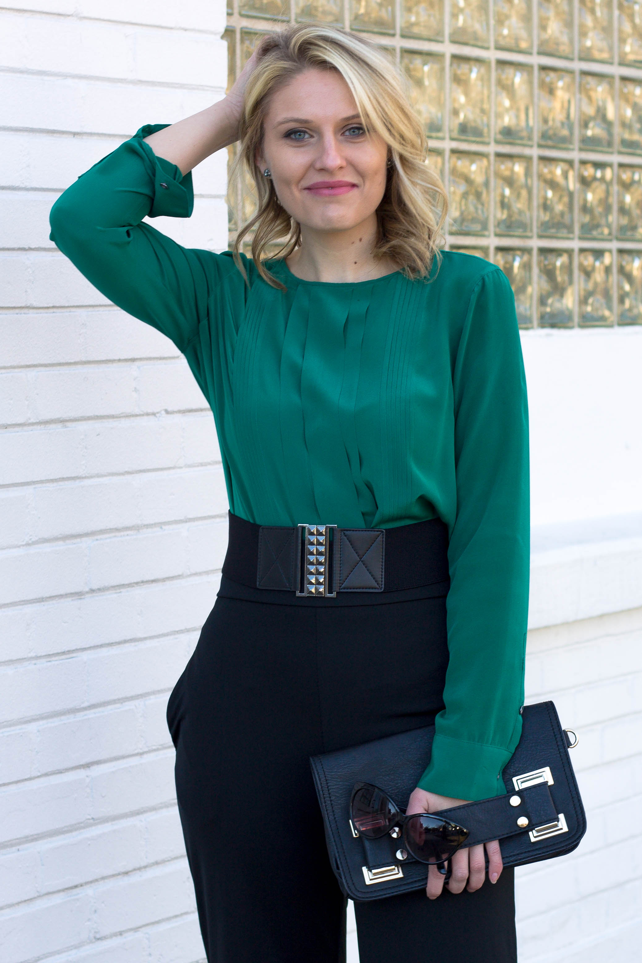 Madewell Emerald Silk Shirt with High Waisted Pants