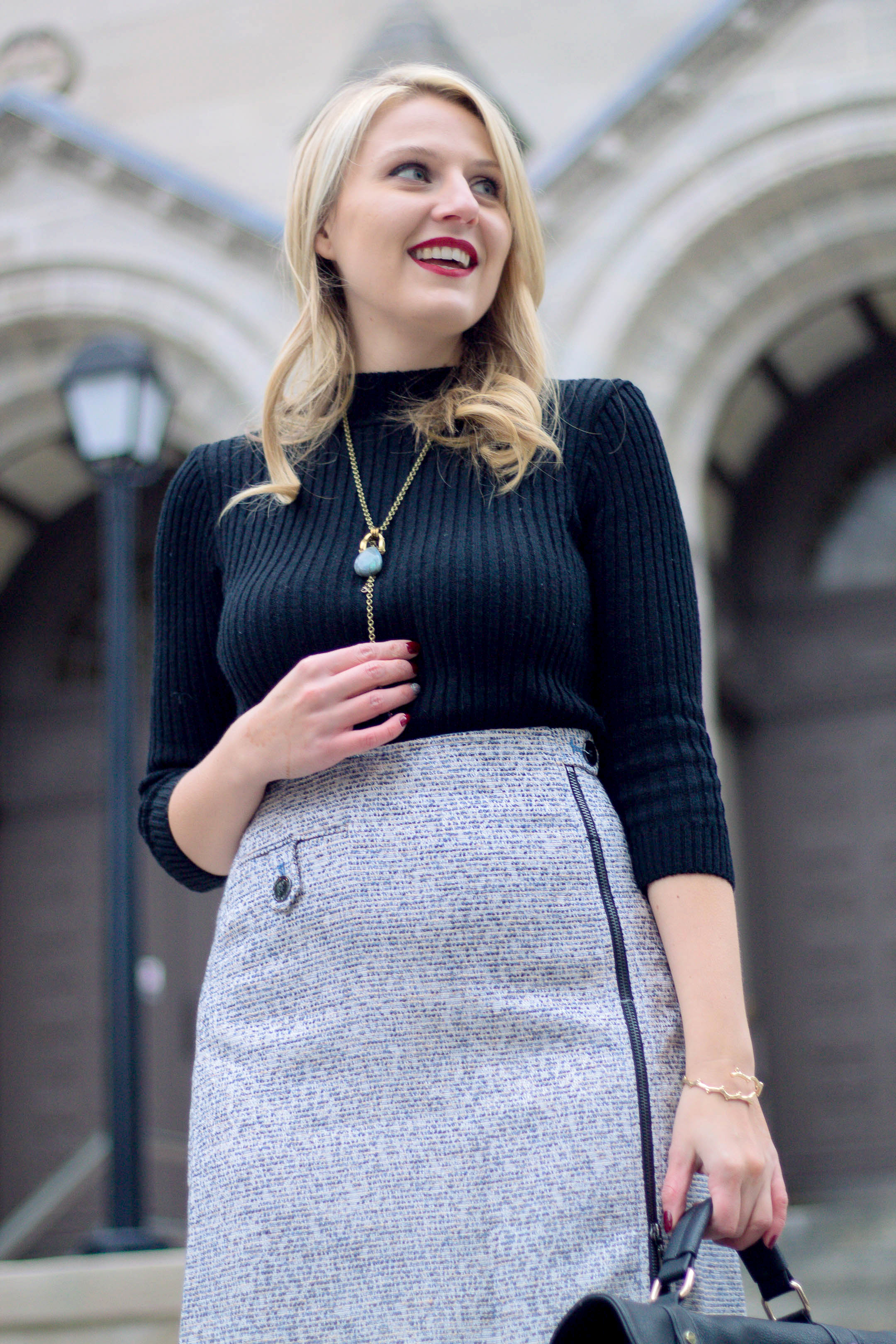 Monica Modzelewski wearing a tweed skirt