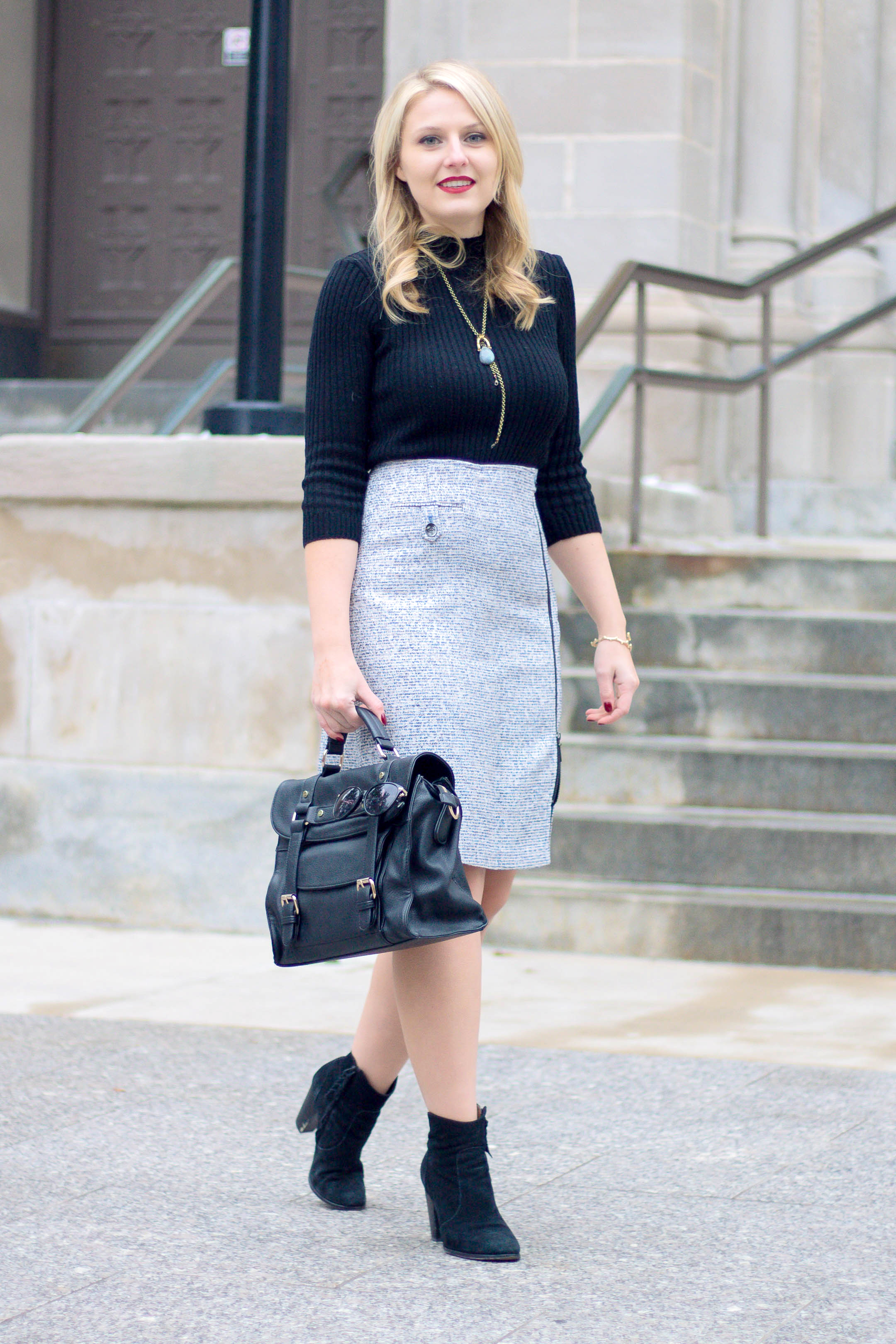 Winter workplace outfit with a tweed skirt