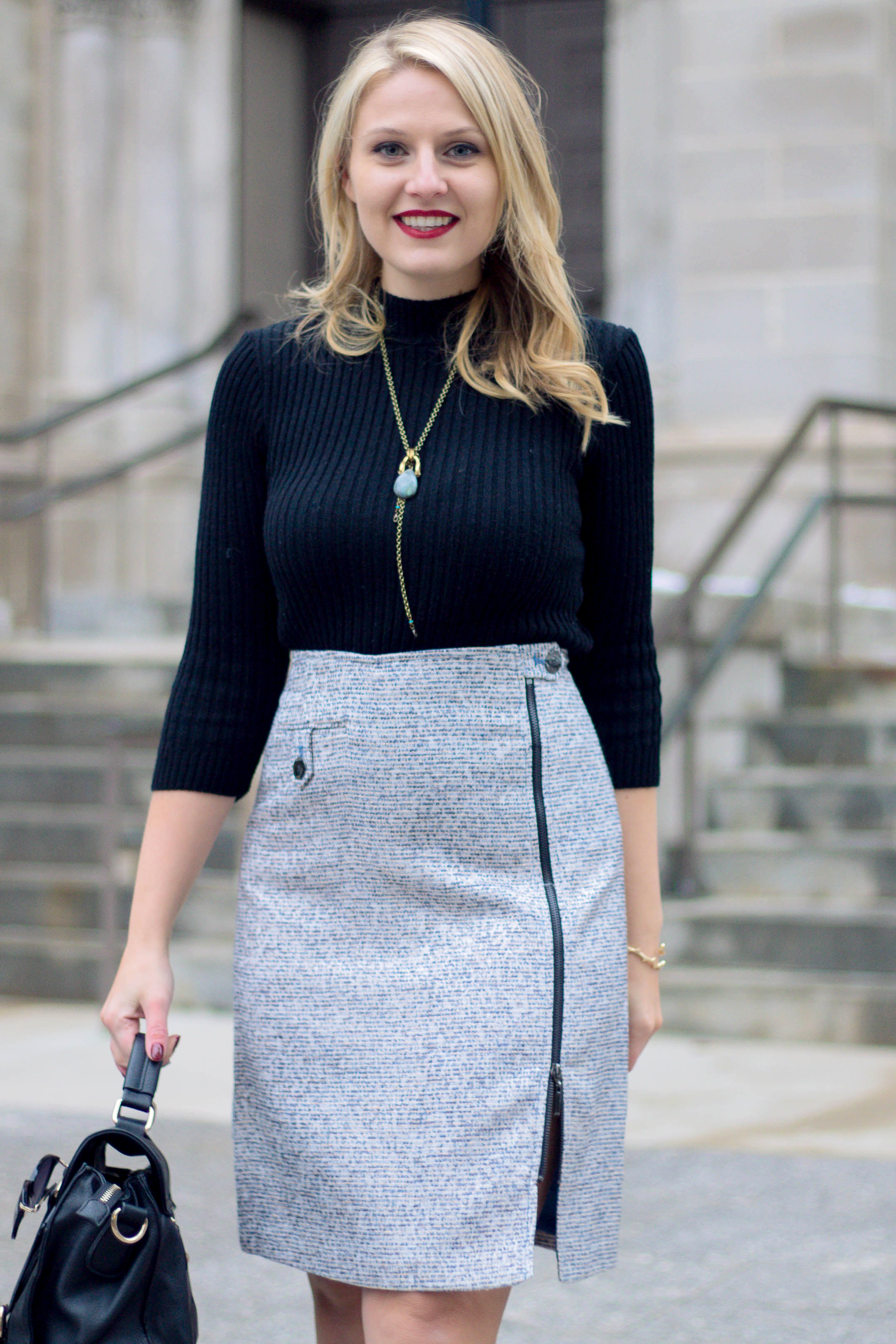 A simple tweed skirt with mock neck sweater outfit