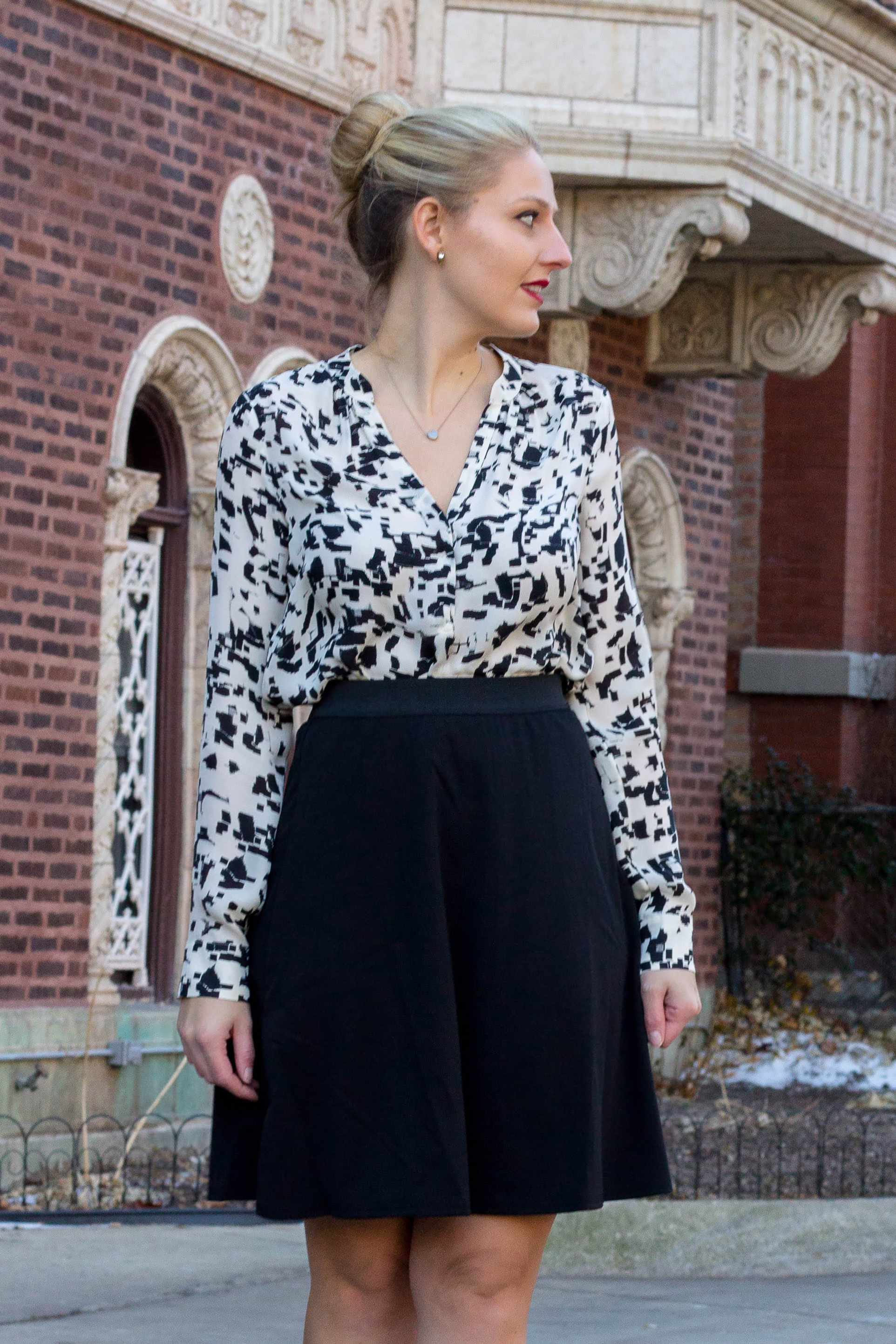 A Vince button down blouse in black and white strokes; lilac coat
