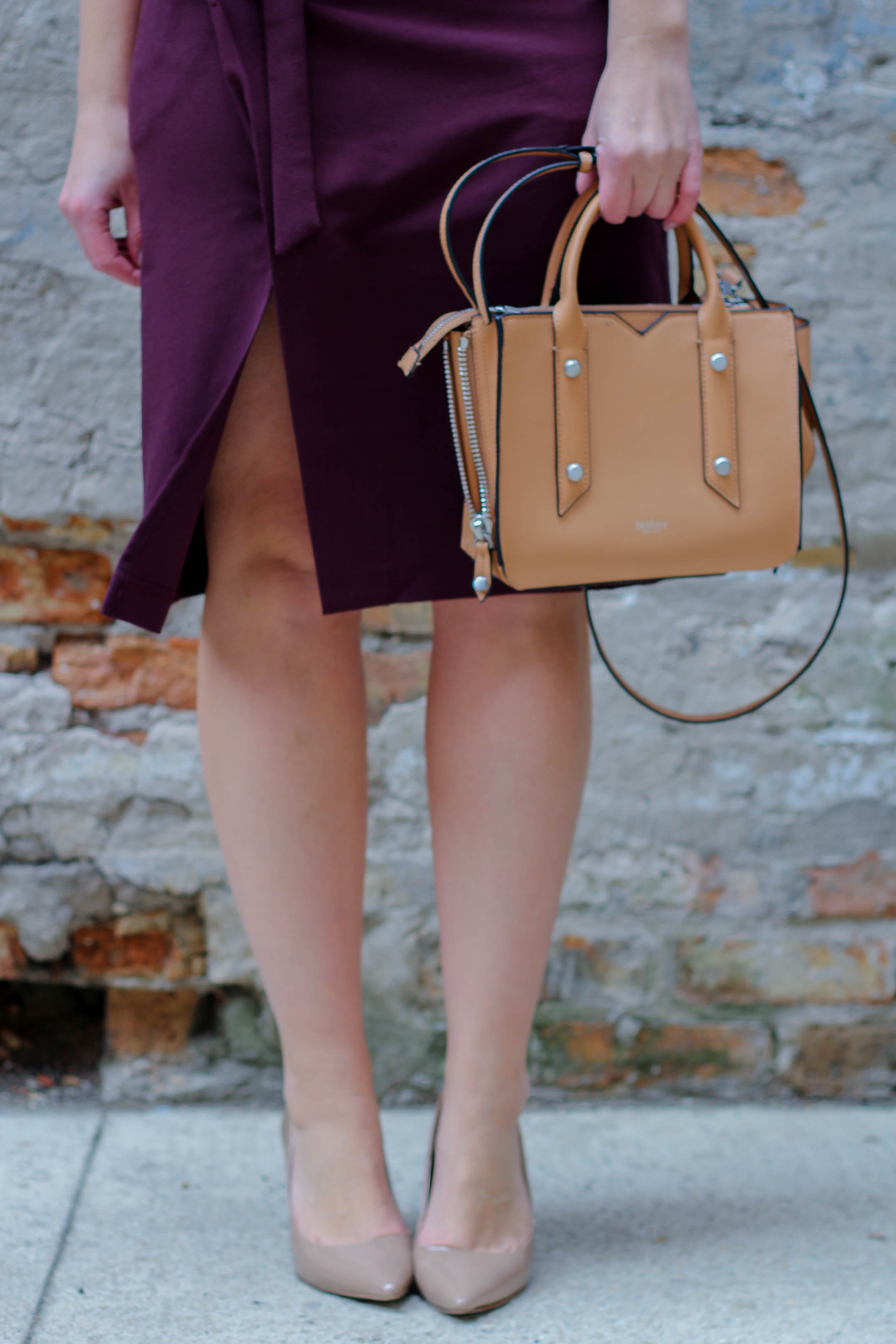 Nude heels and a simple nude handbag for the office