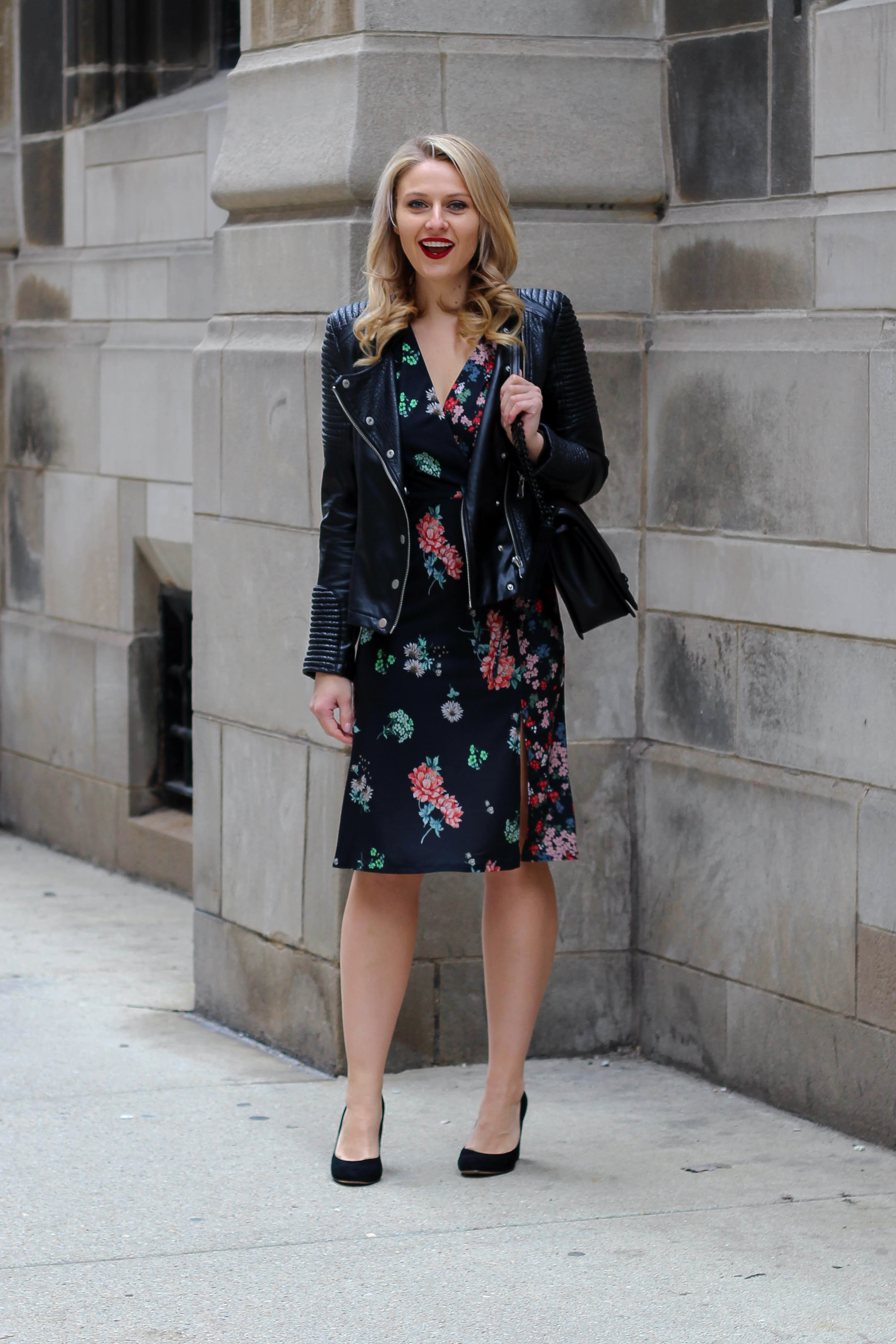 A faux leather biker jacket with an ASOS floral midi dress for a night out on the town