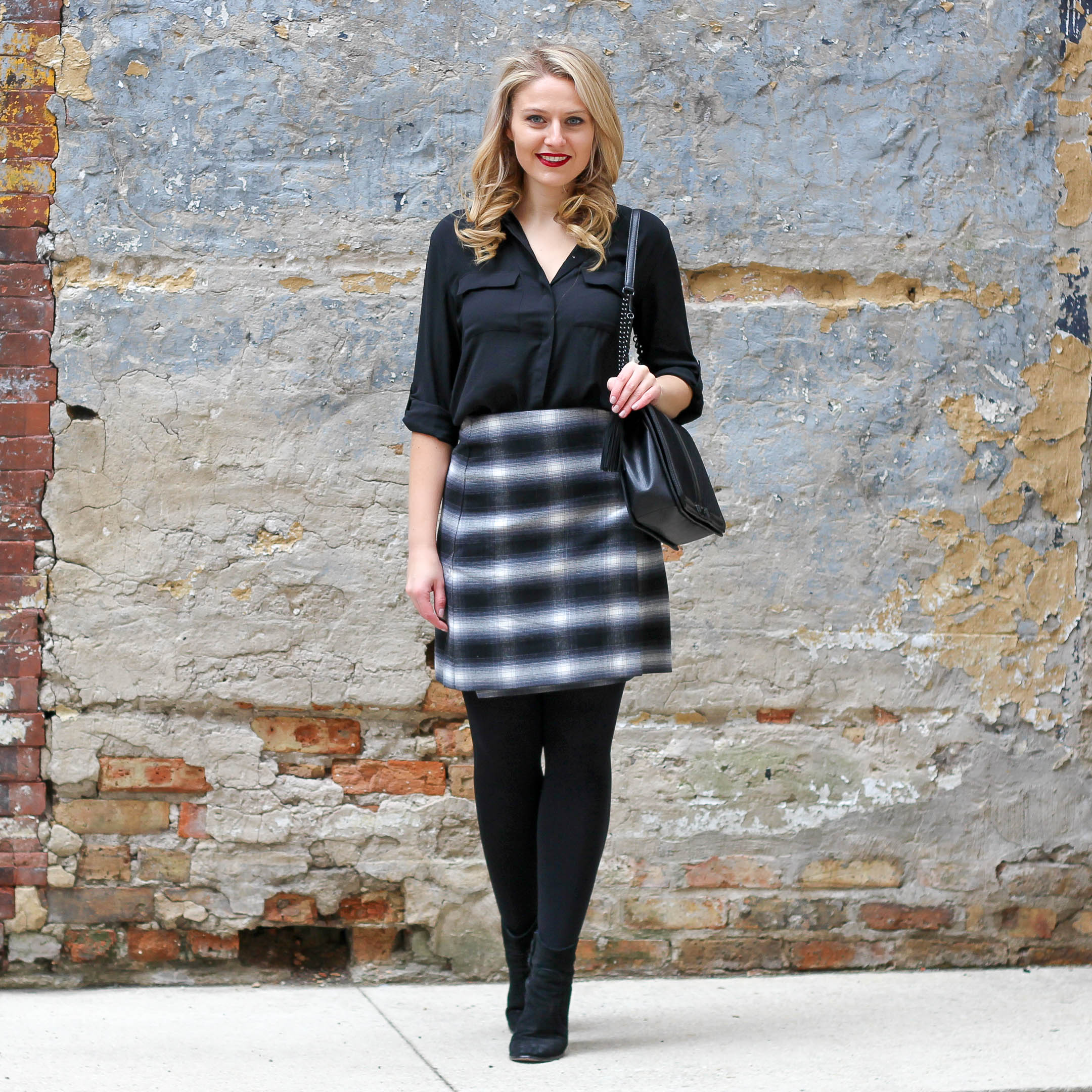 A fresh way to wear plaid this month to transition from winter to spring