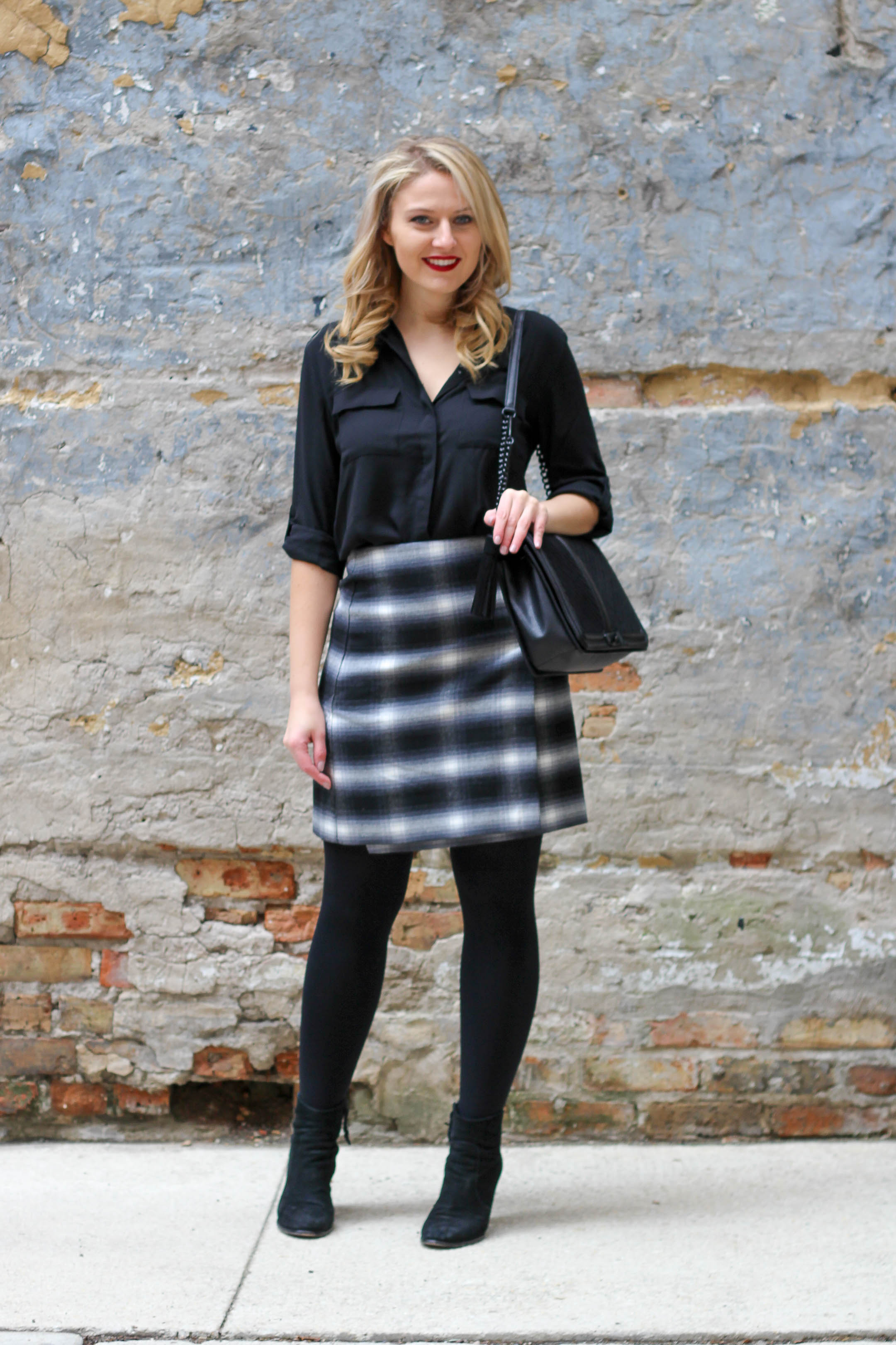 How to wear a plaid skirt to the office