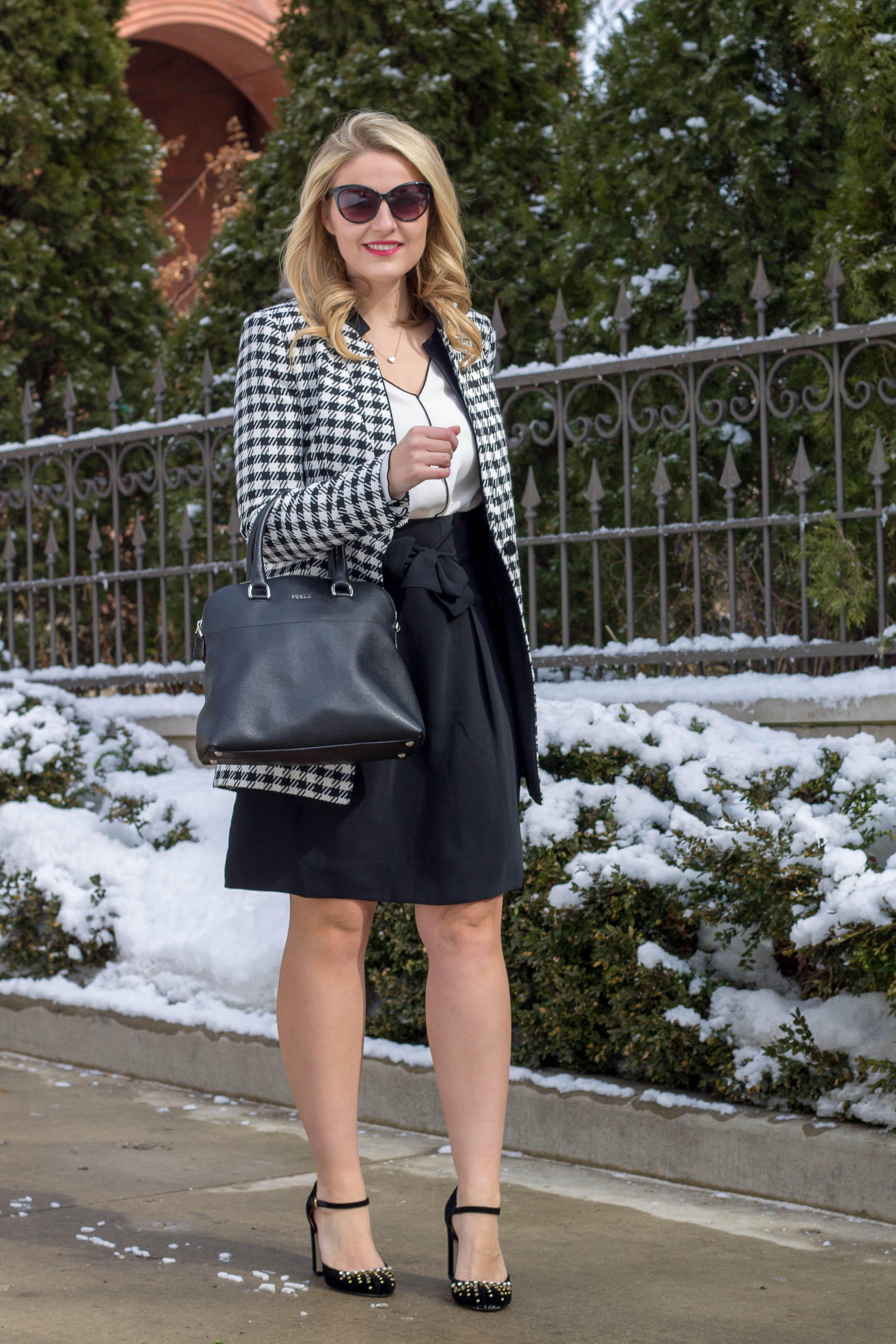 A great winter to spring professional work outfit featuring this houndstooth jacket