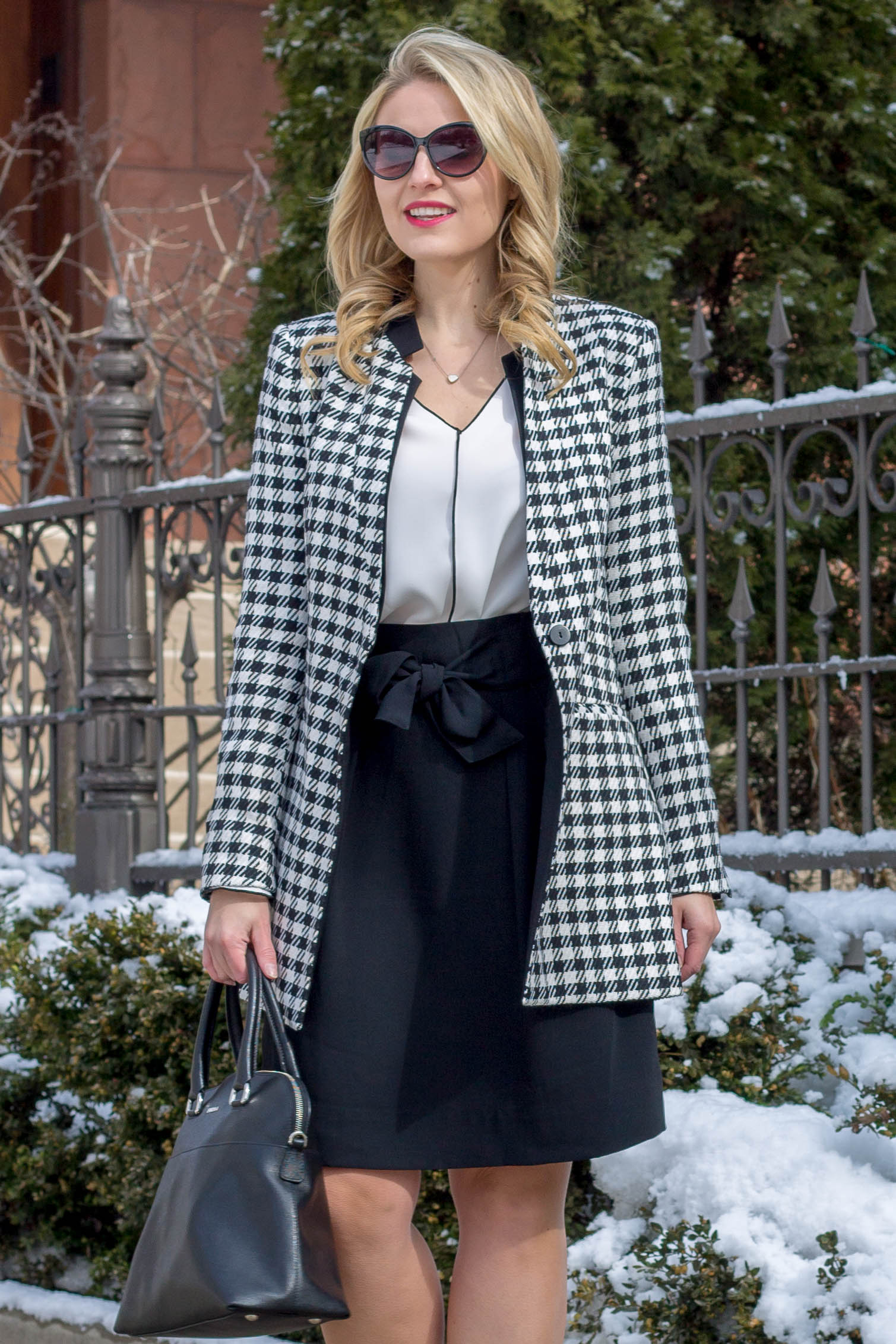 A black and white professional work outfit featuring this zara houndstooth jacket