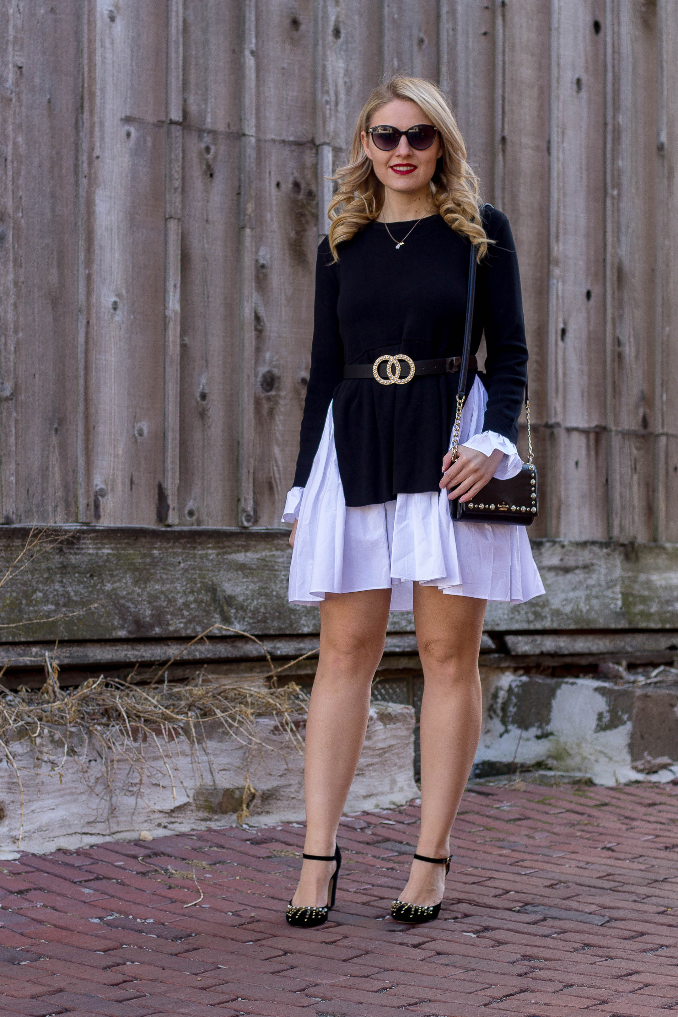 A fit and flare sweater dress from English Rose for date night this spring